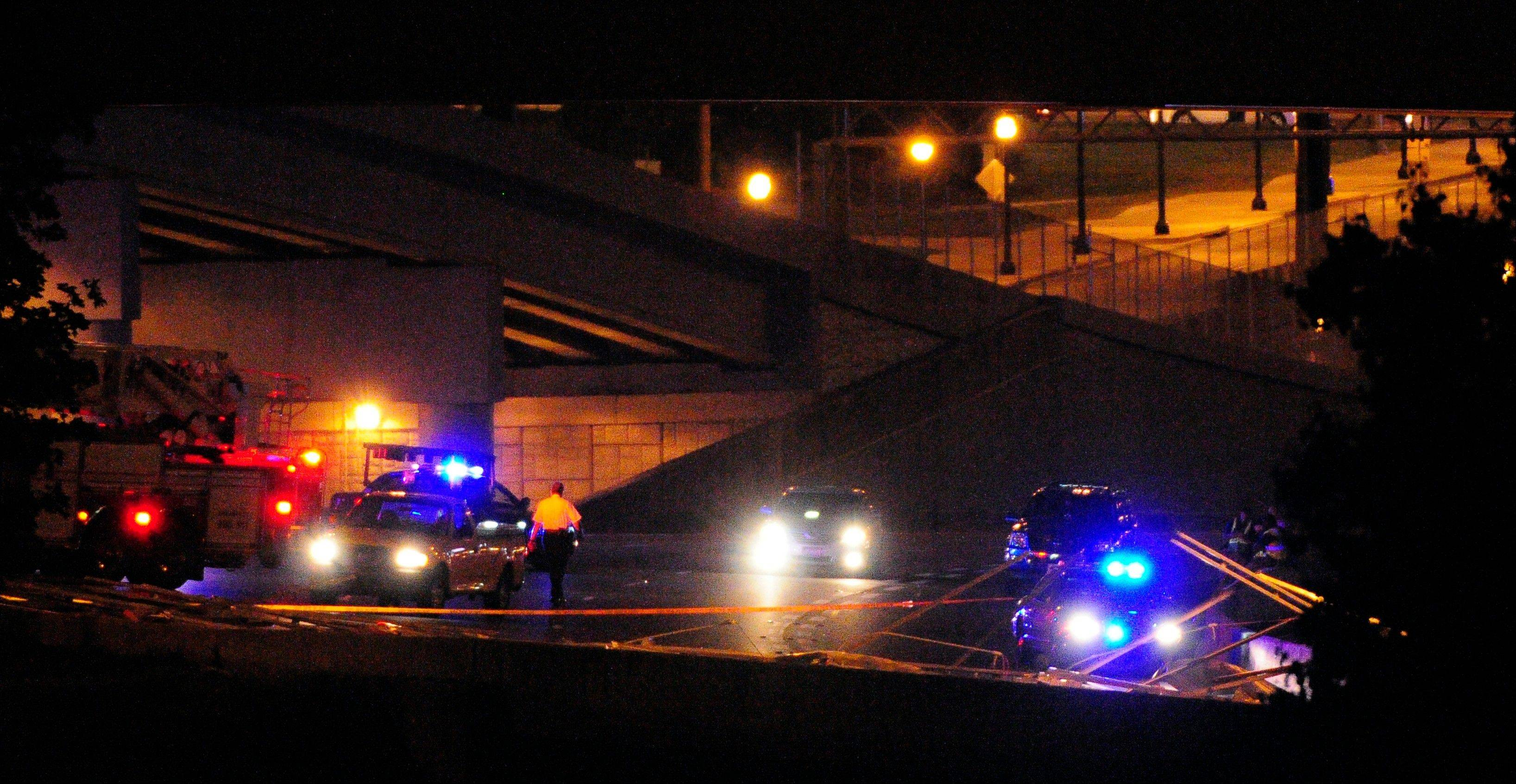 Part of the 17th Street bridge that spans Atlanta�s downtown connector collapsed onto the northbound lanes of Interstate 85 before midnight on on Saturday, Aug. 13, 2011, causing large traffic delays in the midtown area of Atlanta. The crumbled metalwork can be seen in the lower right of this photo,