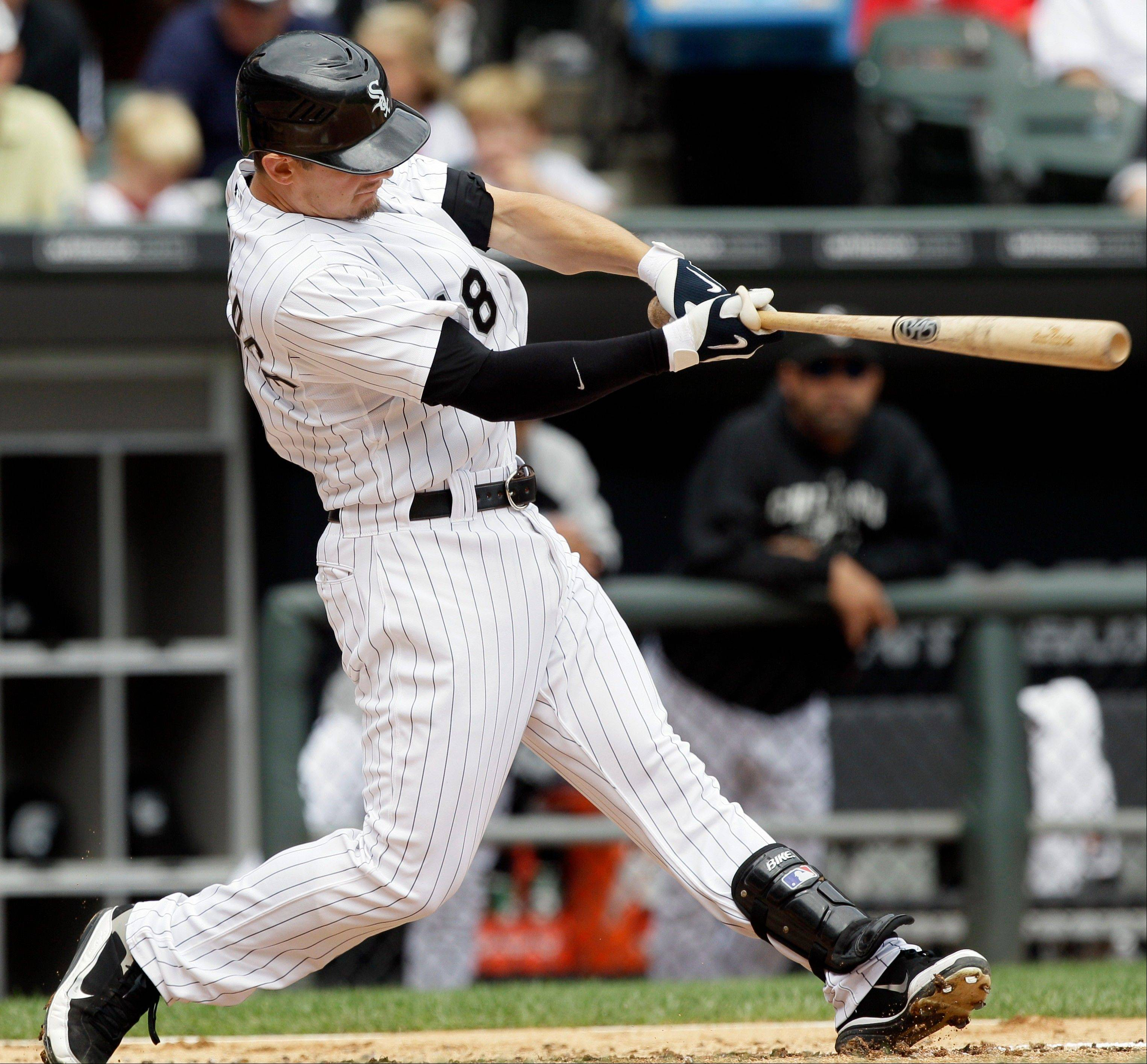 White Sox hitter Brent Lillibridge smacks a three-run home run during Sunday�s first inning at U.S. Cellular Field.