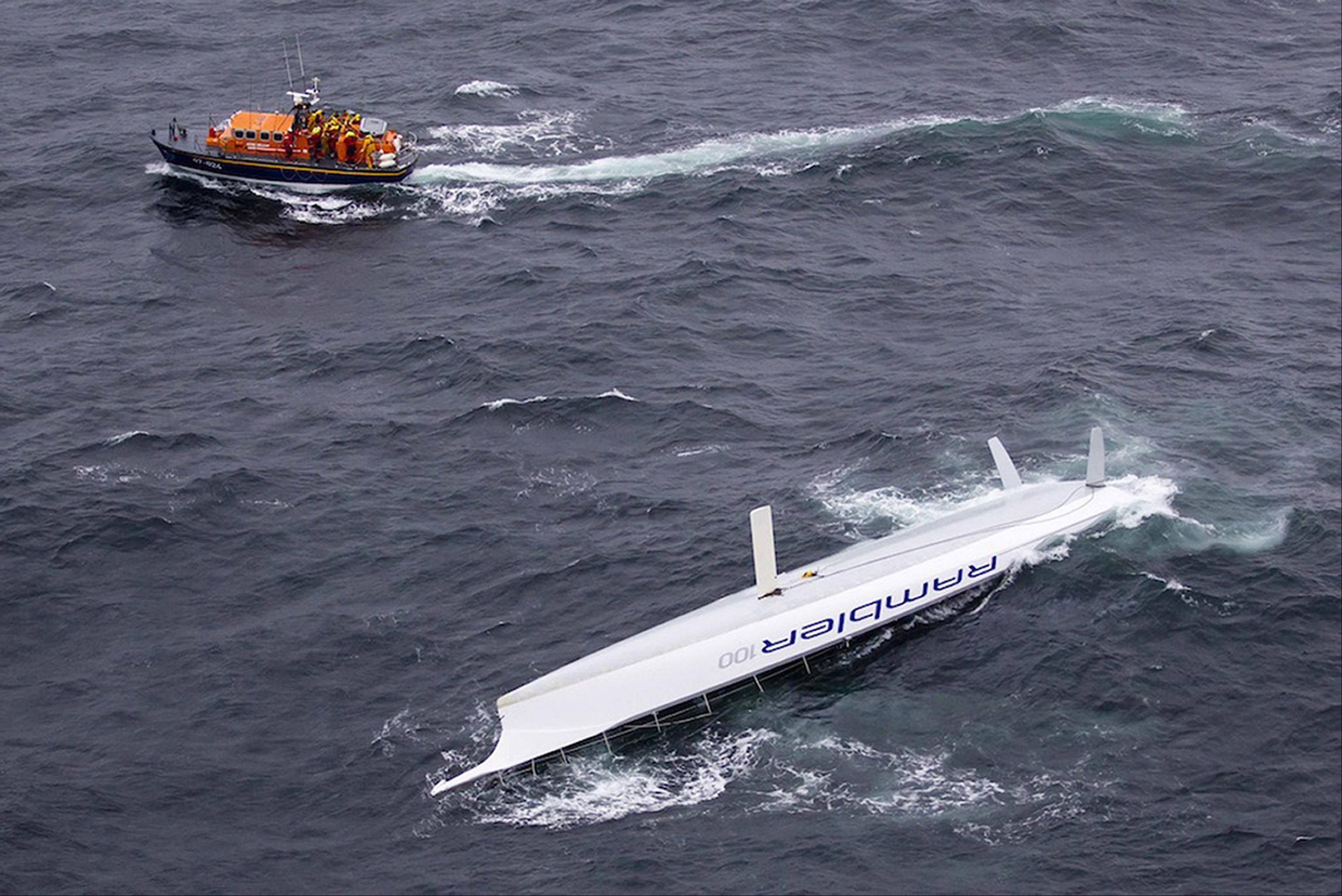 Rescuers saved 21 people after their U.S.-registered racing yacht capsized off the Irish coast.