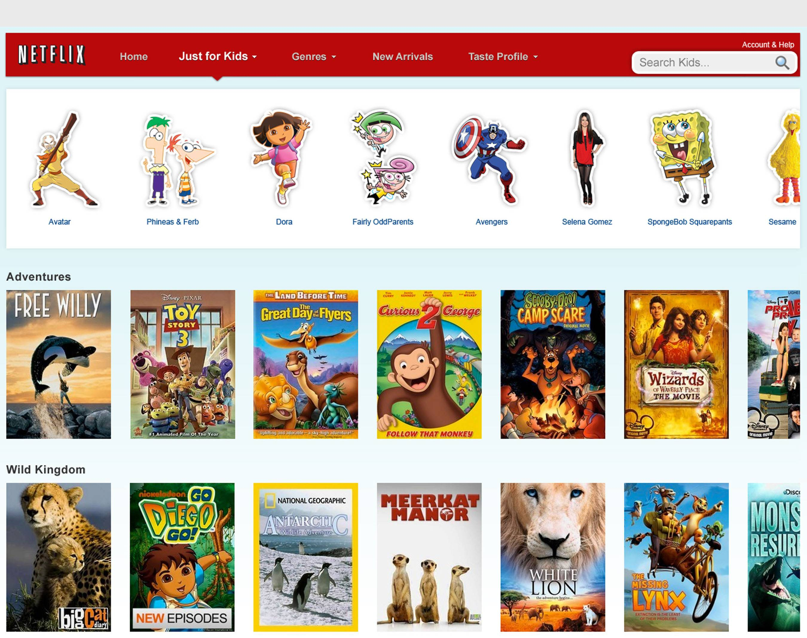 "Netflix has made it easier for families to instantly watch a range of kid-friendly TV shows and movies with its new ""Just for Kids"" tab."