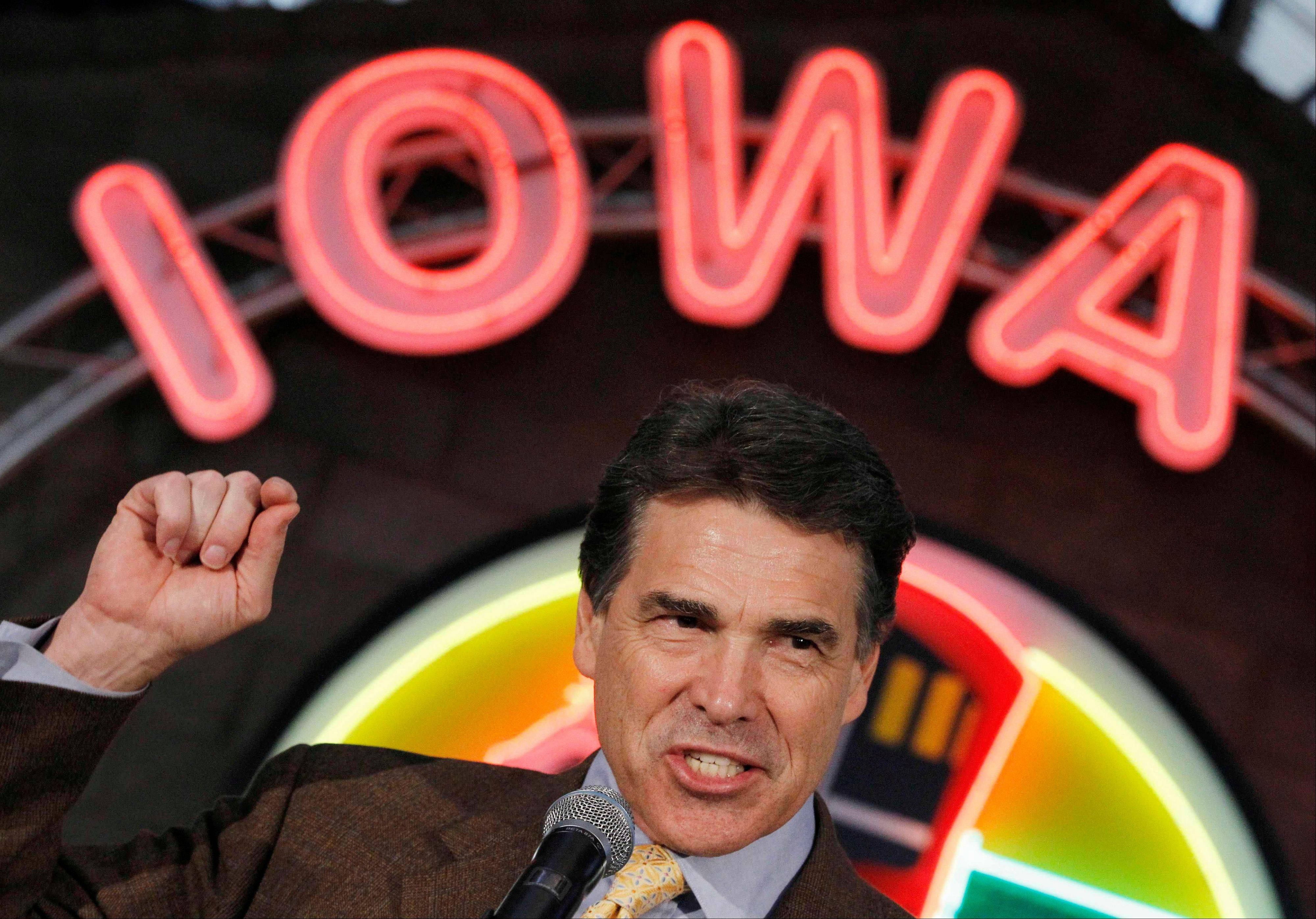 Republican presidential candidate, Texas Gov. Rick Perry makes a campaign stop Tuesday at the Iowa 80 Group in Walcott, Iowa.