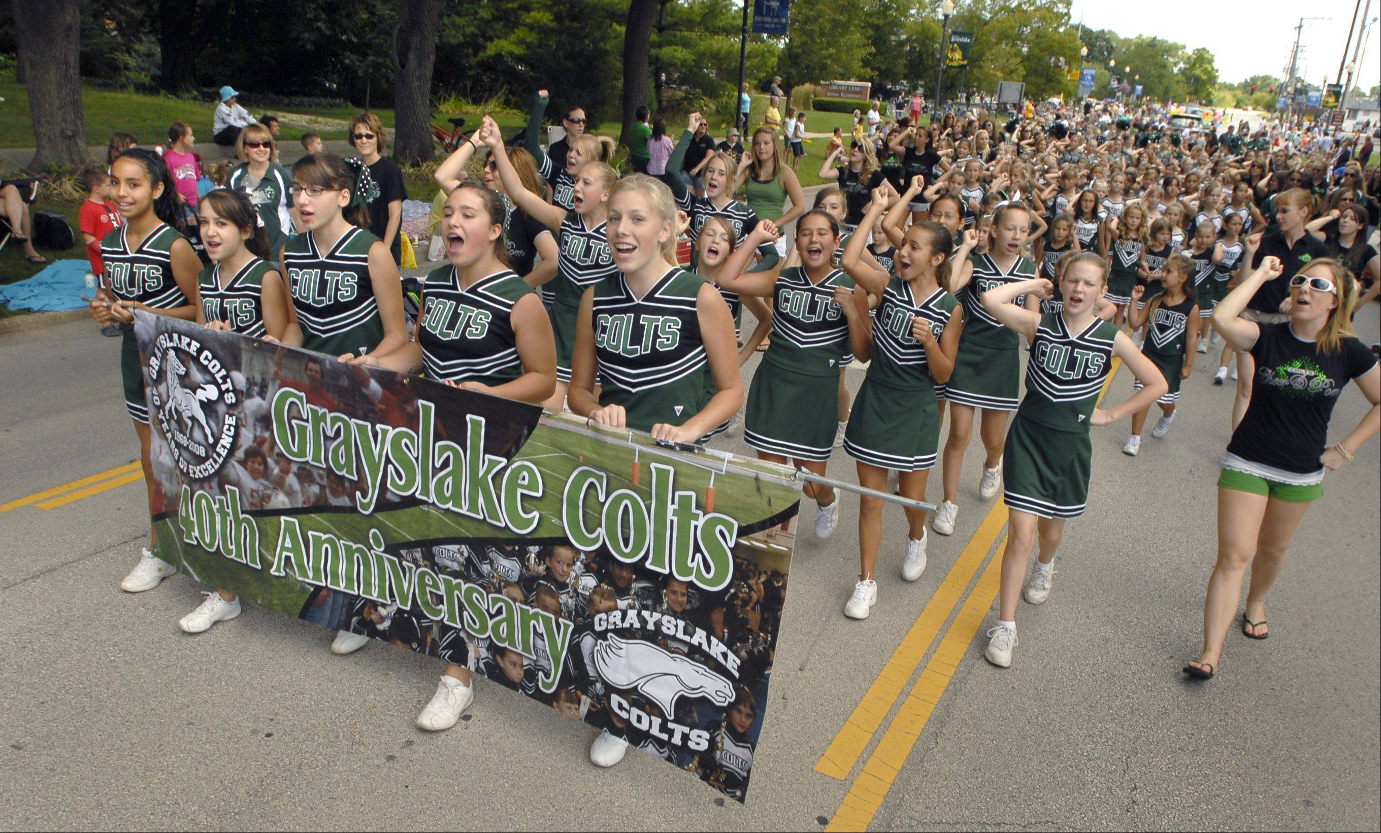 Grayslake Colts cheerleaders filled the street last year for the Summer Days parade. The parade steps off at 7 p.m. Saturday, Aug. 20, from Grayslake Central High School.