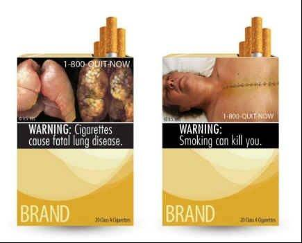 Mock-up graphic cigarette packages prepared by the U.S. Food and Drug Administration.