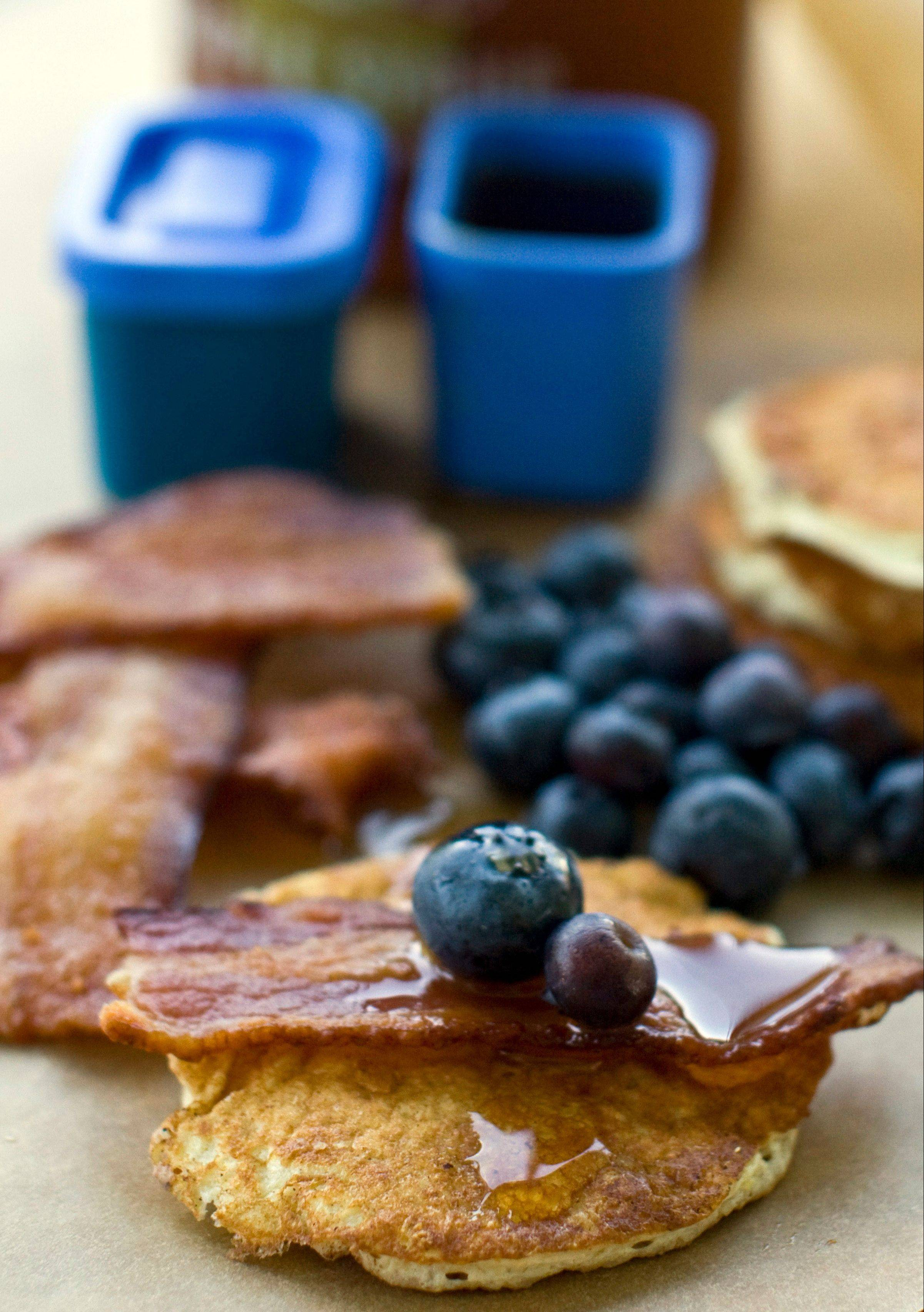 This easy pancake and bacon breakfast-lunch lets kids assemble their own meal.