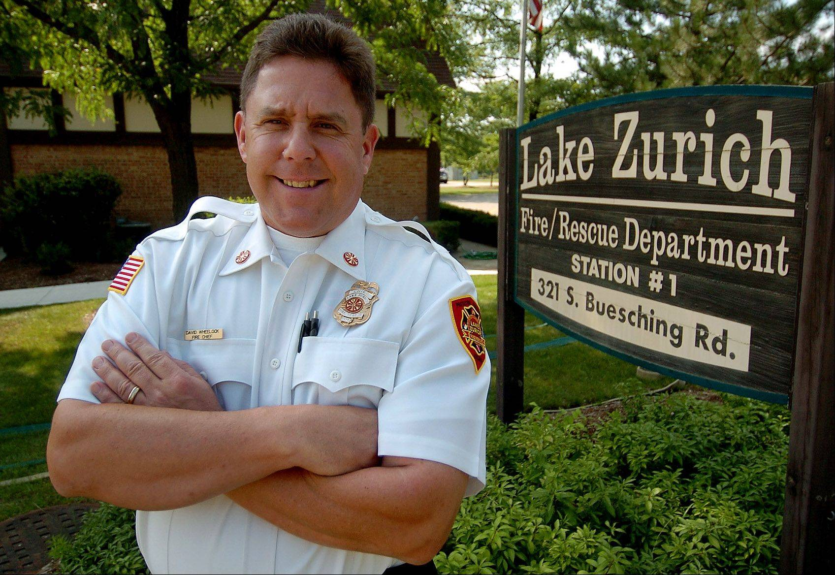 New Lake Zurich Fire Chief David Wheelock took the oath of office in a ceremony Monday. Wheelock, a department veteran, replaces former chief Terry Mastandrea, who retired in July.