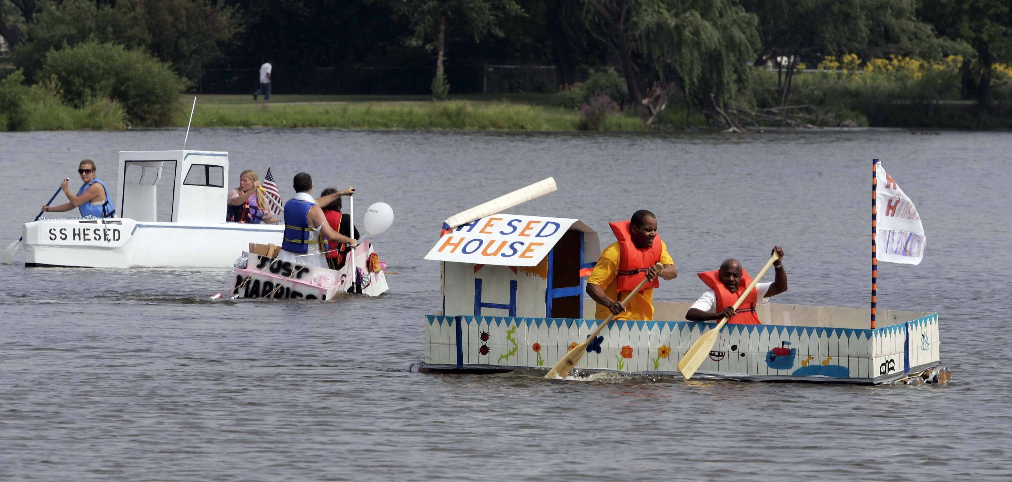 "Cardboard boat builders will hope to stay afloat Saturday when the Fox Valley United Way sponsors its annual ""What Floats Your Boat"" regatta at Mastodon Lake in Aurora's Phillips Park."