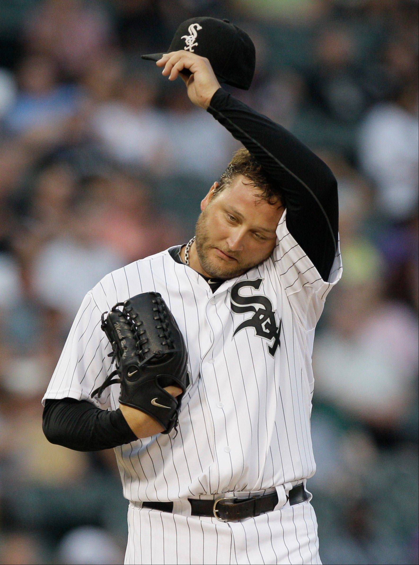 White Sox starter Mark Buehrle allowed more than 3 runs for the first time in 19 starts Wednesday night.