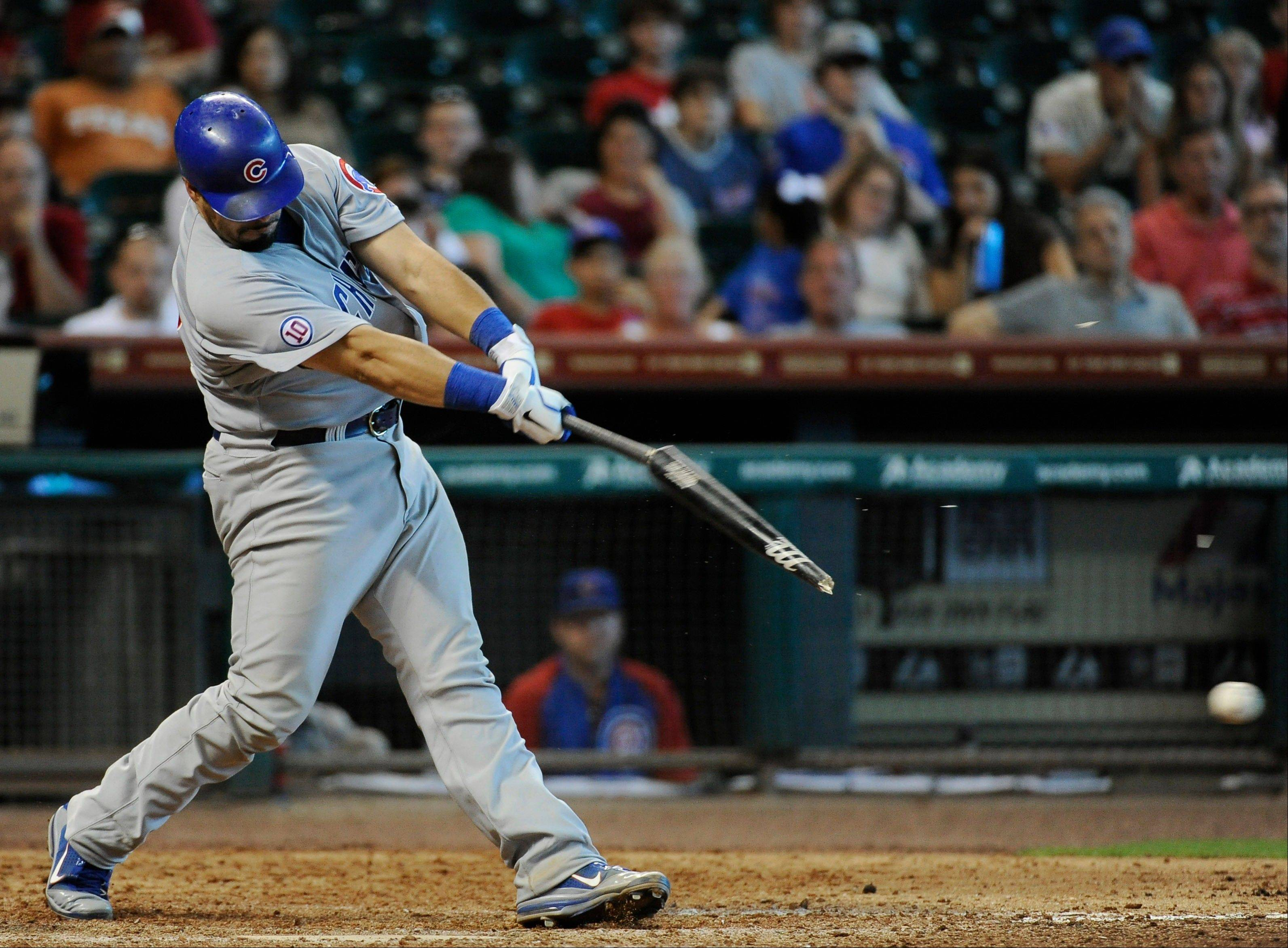 The Cubs� Geovany Soto breaks his bat as he grounds into a fielder�s choice in the ninth inning Wednesday.