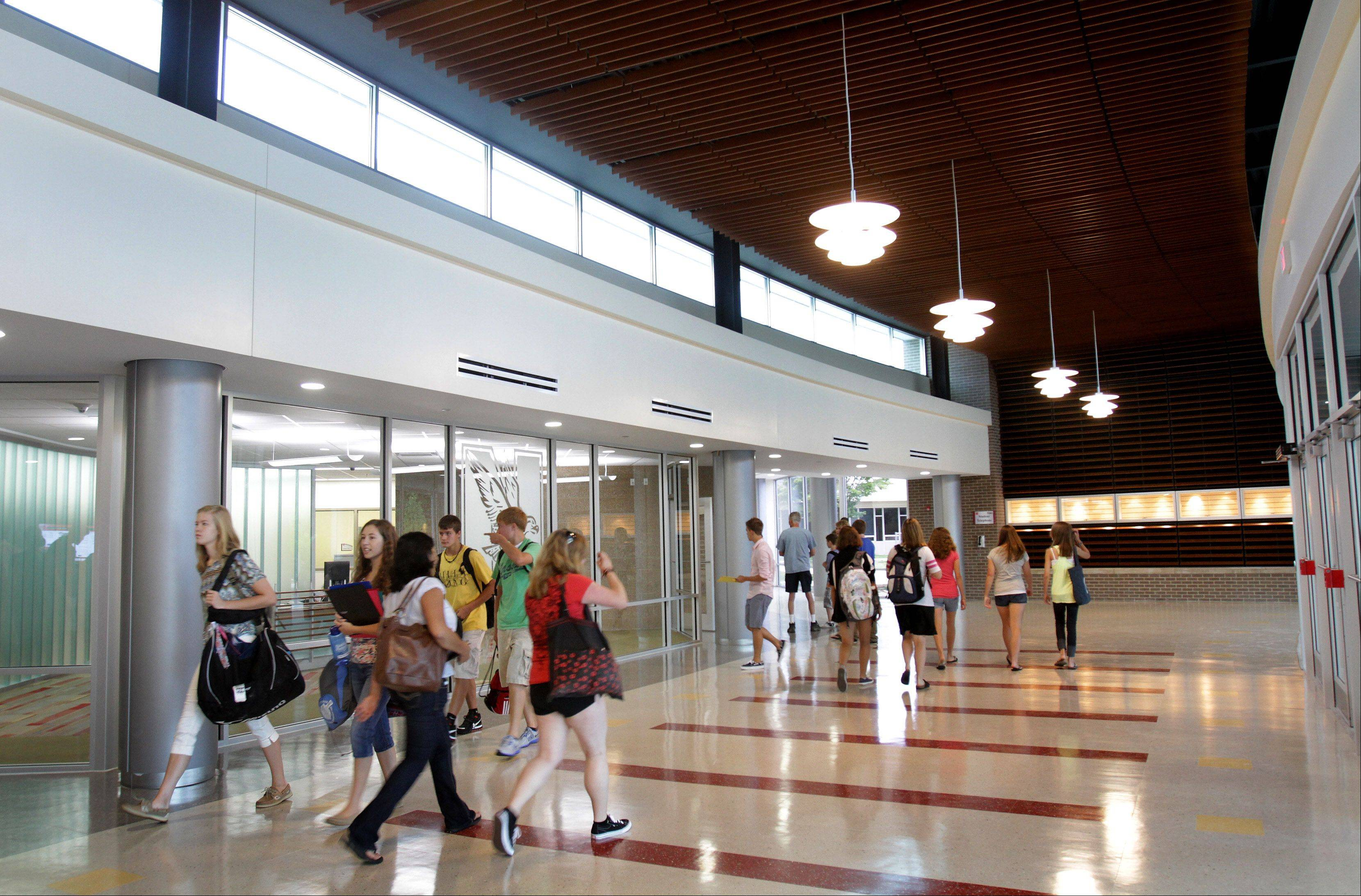 The expanded hallways and the new entrance off Aurora Avenue are a highlight of the Naperville Central High School renovations.
