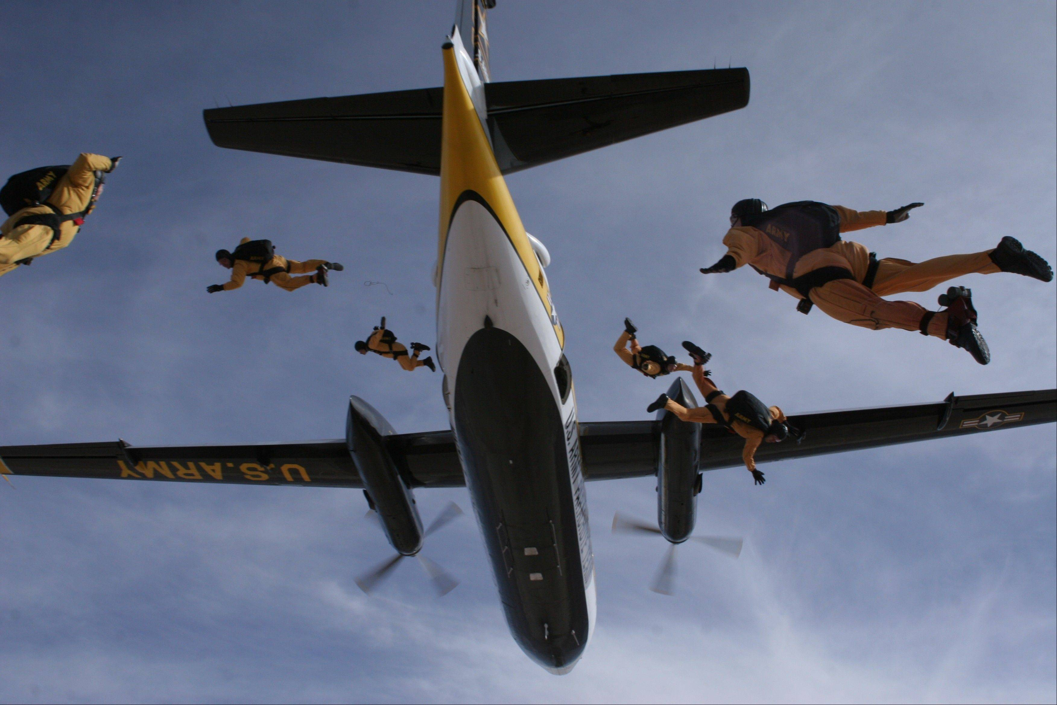 The U.S. Army's Golden Knights parachute from heights of 12,500 feet.