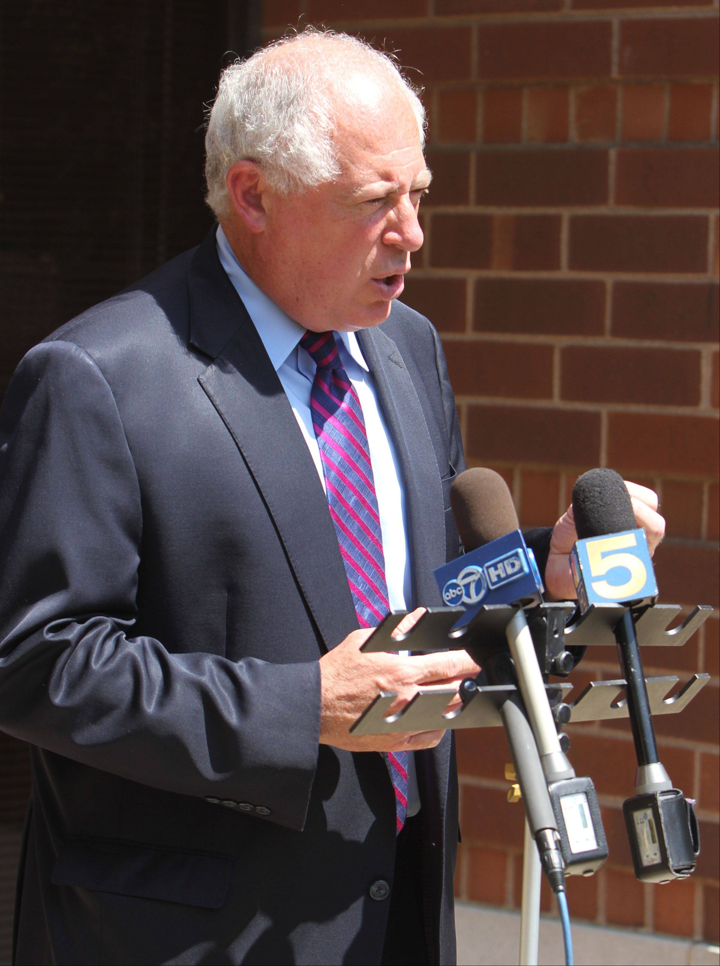 Gov. Pat Quinn speaks to reporters Thursday about the proposed gambling expansion legislation that would put 1,200 slot machines at Arlington Park racetrack.