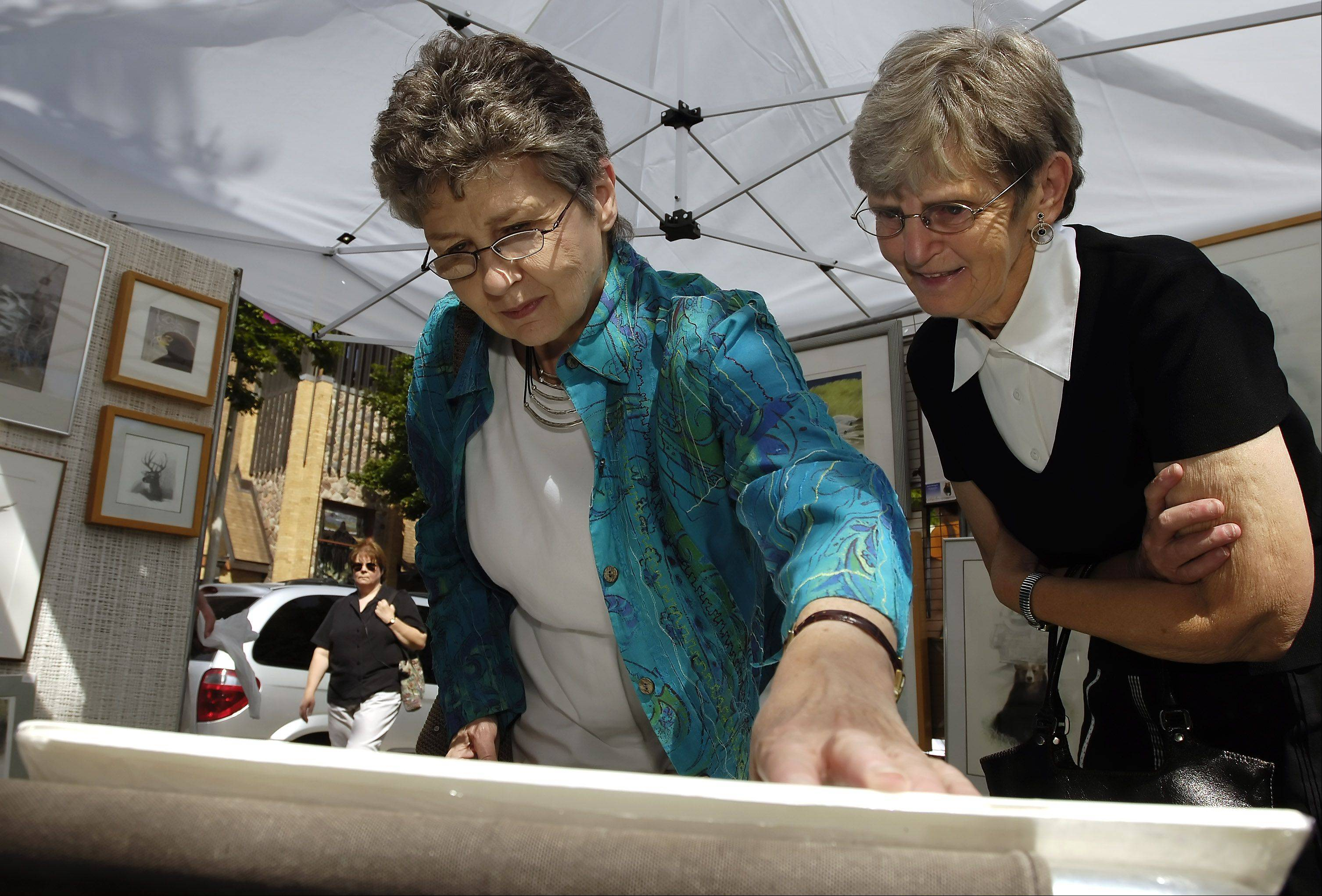 Kay Coyne and Grace Wagner of Prospect Heights look over the art work of Sylvia Westgard while at Arlington Heights' A Walk in the Park several years ago.