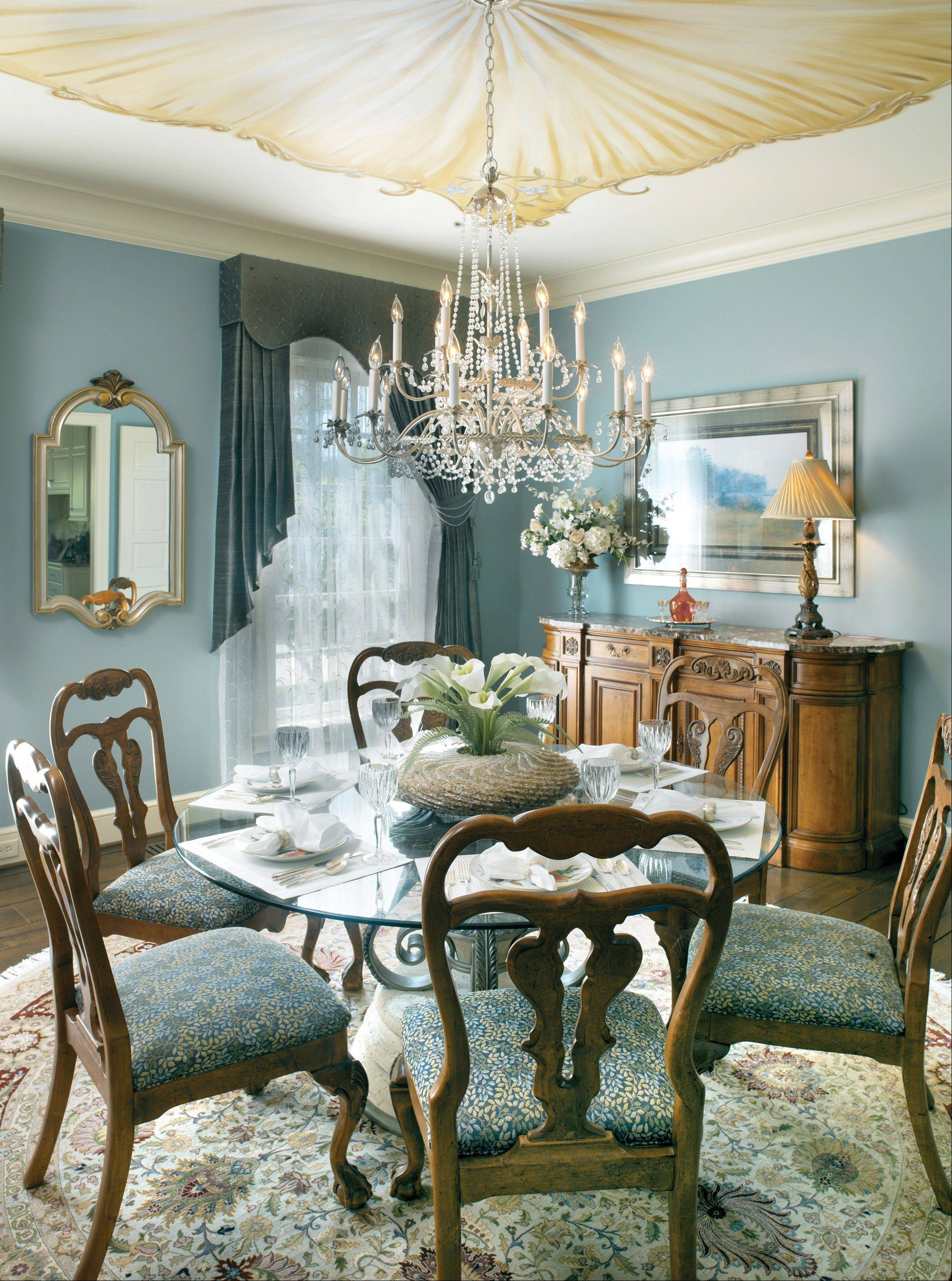 "Don't forget your dining room's ""fifth wall."" Consider lightly patterned wallpaper or faux paint for elegant accents."