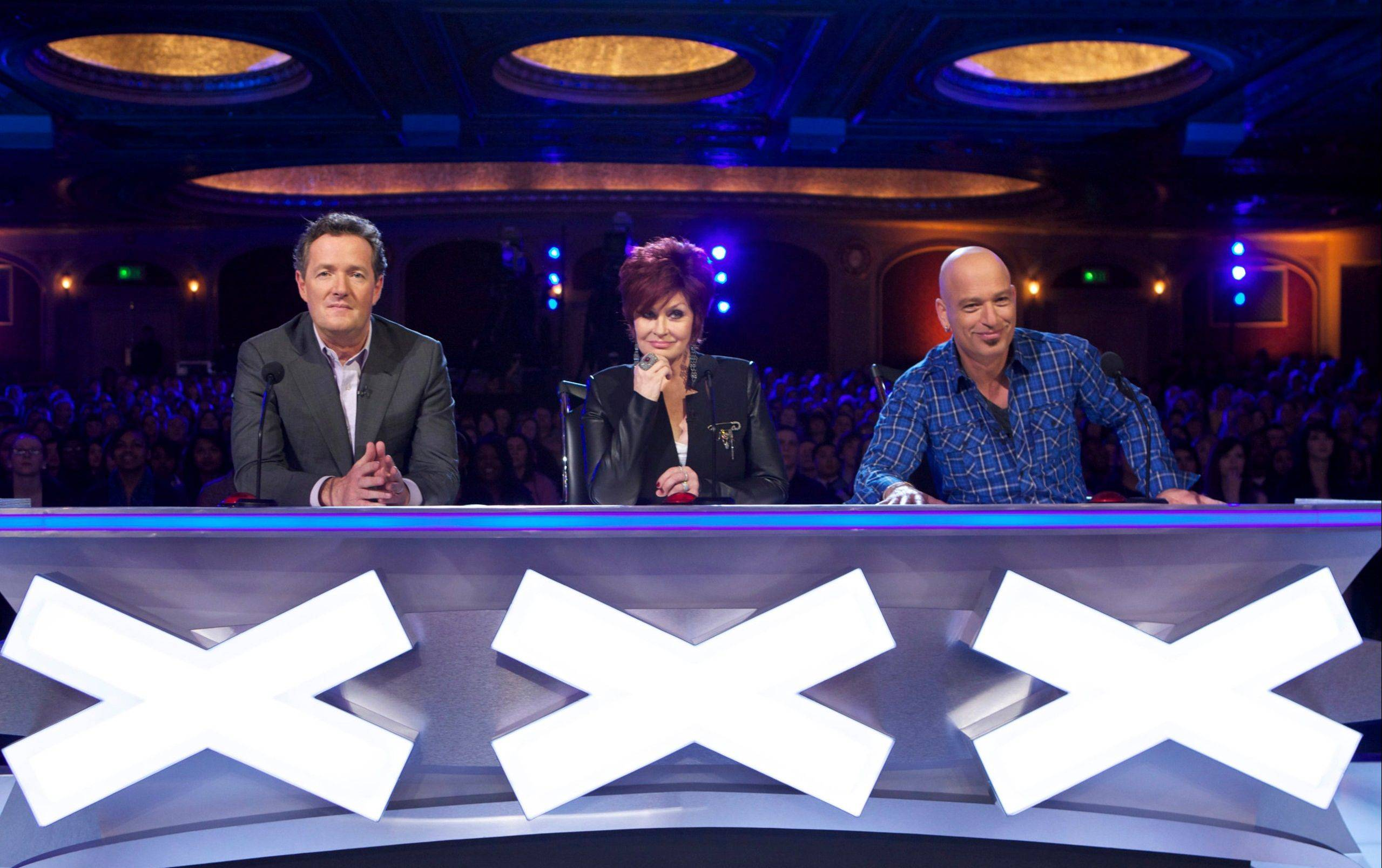 "Piers Morgan, Sharon Osbourne and Howie Mandel judge the acts on NBC's ""America's Got Talent."""
