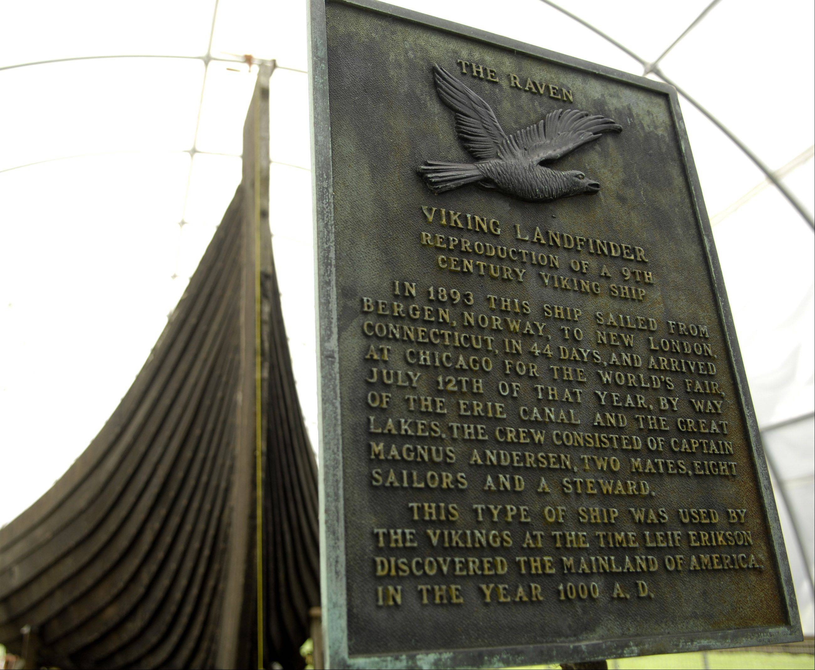 A plaque explains the history of the Raven, the Viking ship on display at Good Templar Park in Geneva. Friends of the Viking Ship will host a Viking Visitor's Day on Saturday.
