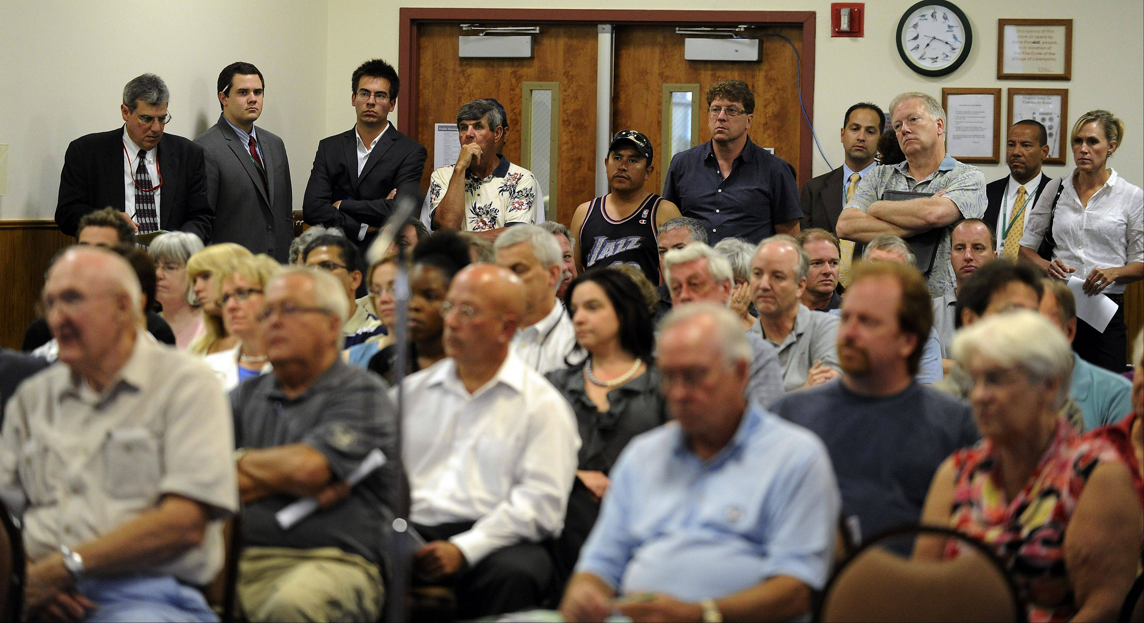 More than 200 filled the Libertyville Civic Center Friday night for a public hearing on a proposed $12 billion capital plan for the Illinois tollway system.