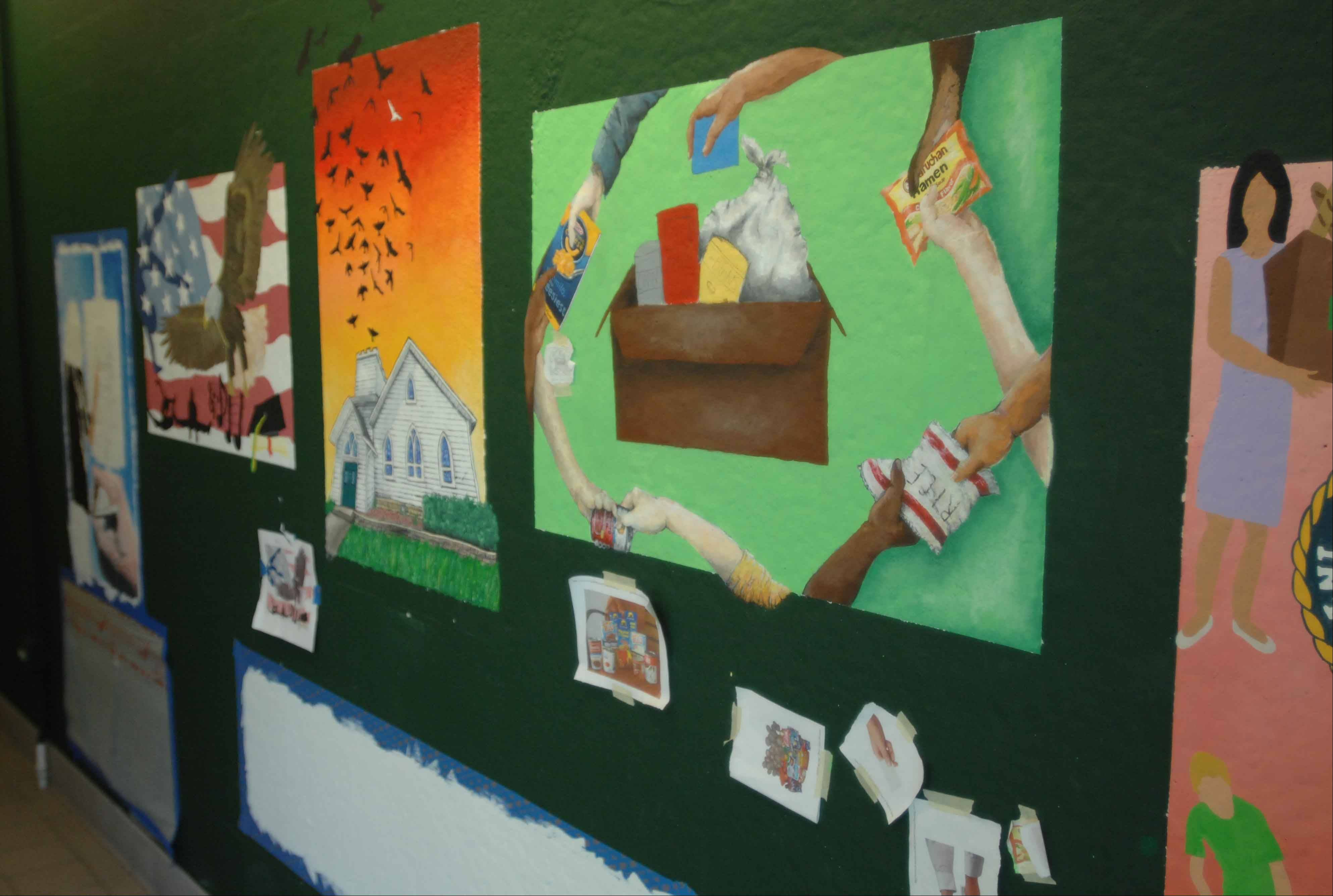 Waubonsie Valley students lined the third floor lobby with murals of what empowers them.