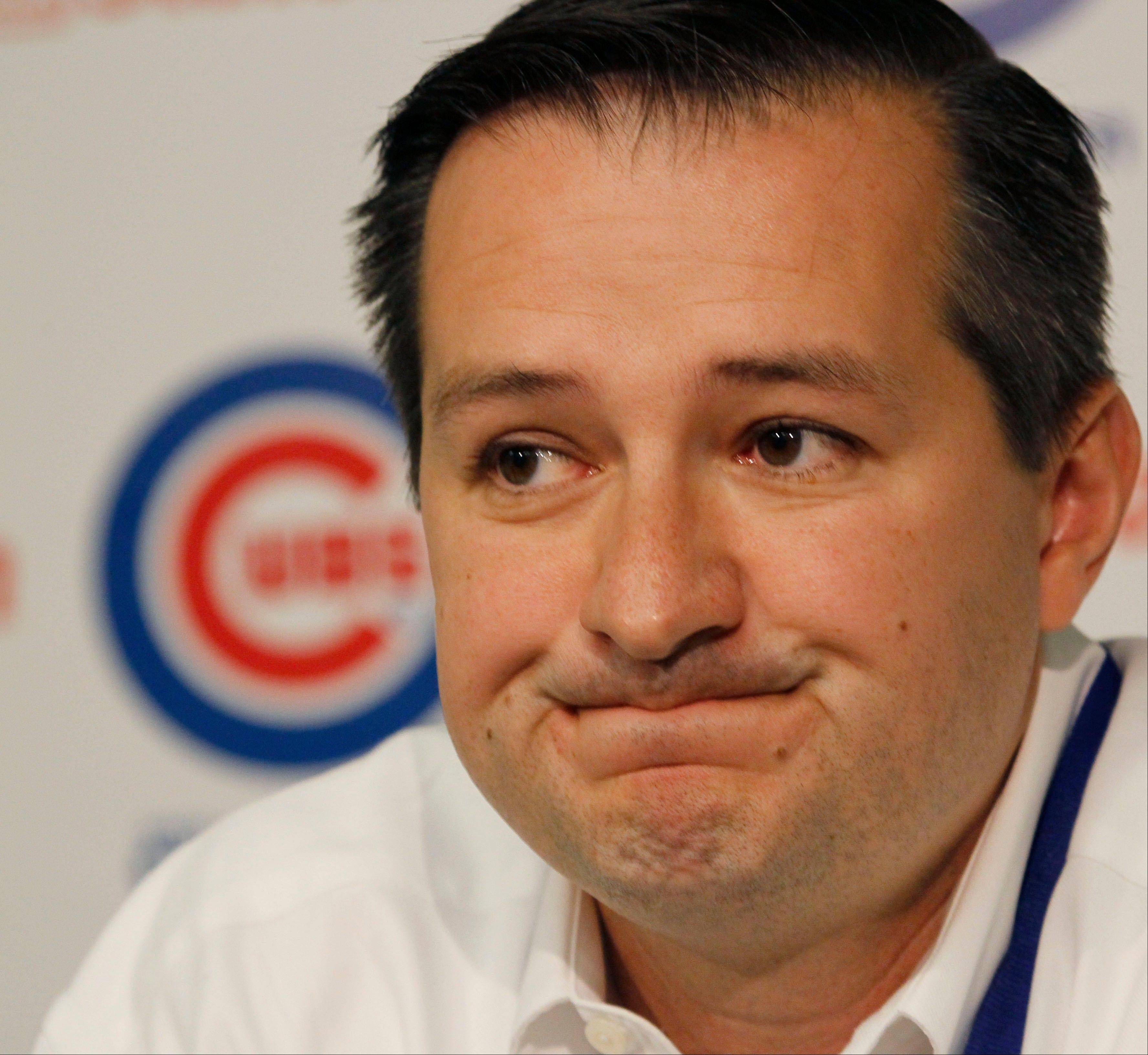 "Chicago Cubs chairman Tom Ricketts fields questions after announcing the firing of general manager Jim Hendry on Friday. Ricketts said it was time for a ""fresh approach in our baseball leadership and our search begins immediately."""