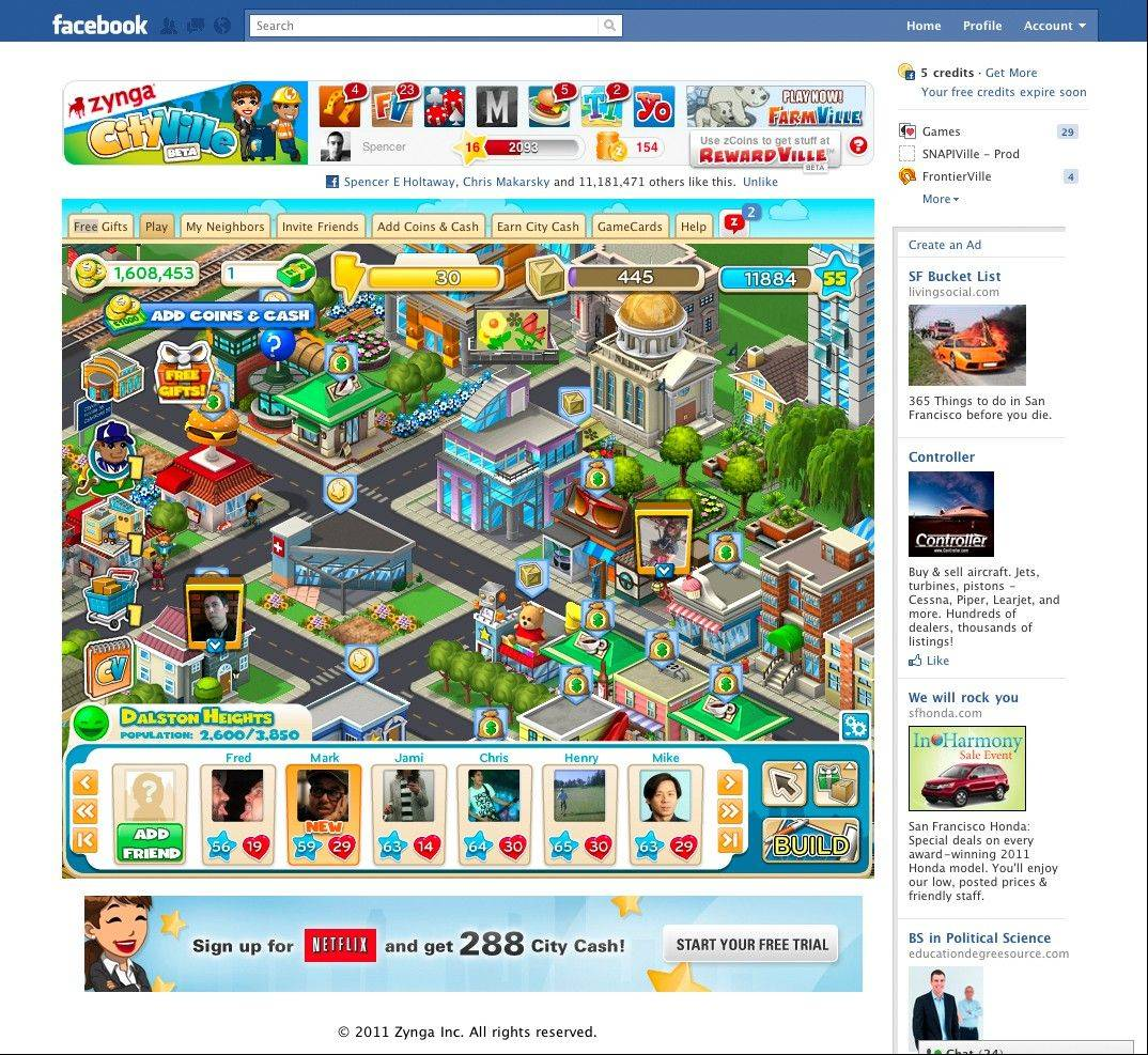 A Texas gaming startup claims Zynga Inc., the maker of popular online games such as �FarmVille,� violated patents related to redeeming prizes in games.