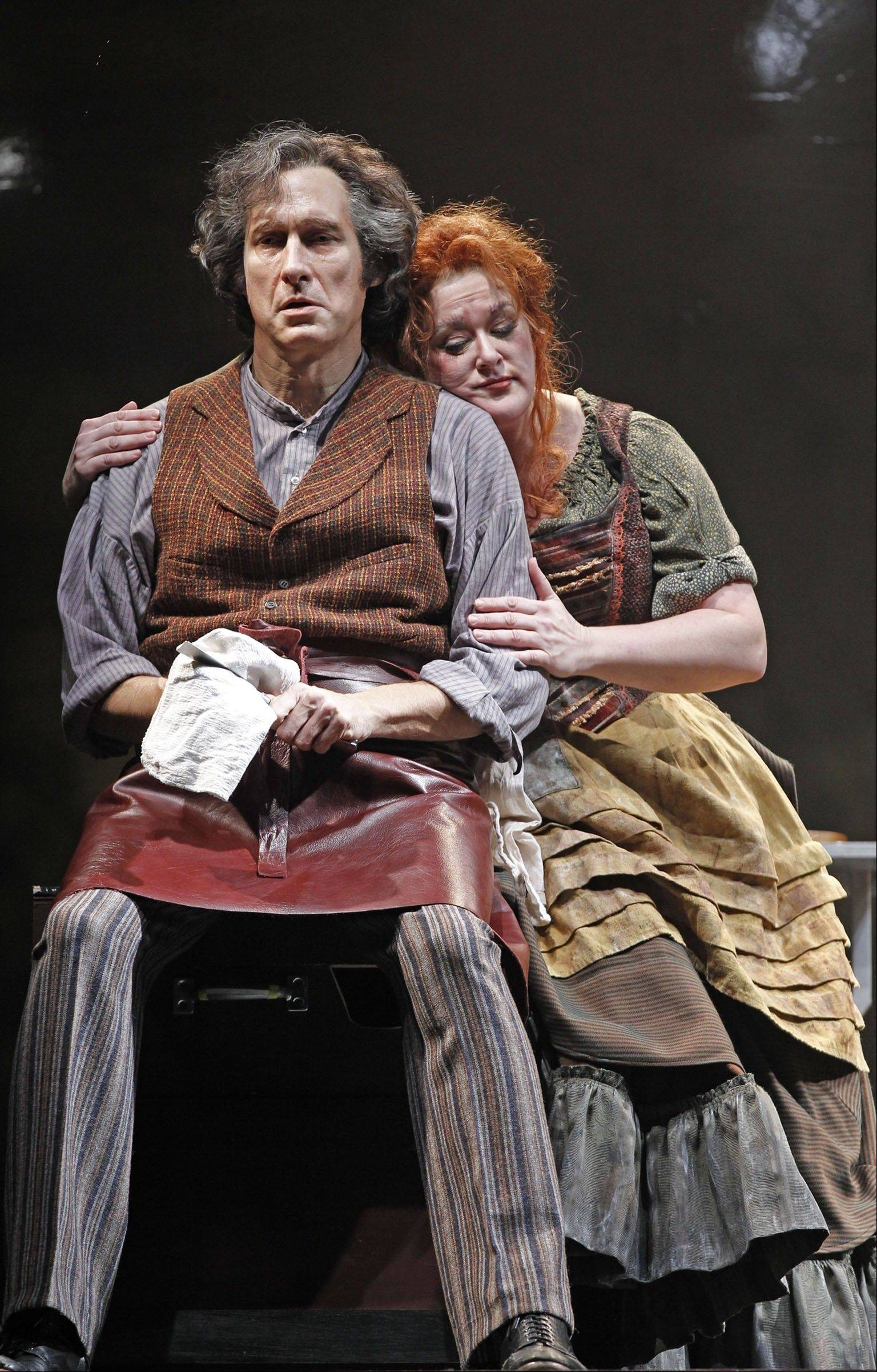 "Sweeney Todd (Gregg Edelman) and Mrs. Lovett (Liz McCartney) devise a way to satisfy his thirst for vengeance and improve her fortunes in the masterful ""Sweeney Todd"" running through Oct. 9 at Drury Lane Oak Brook Theatre."