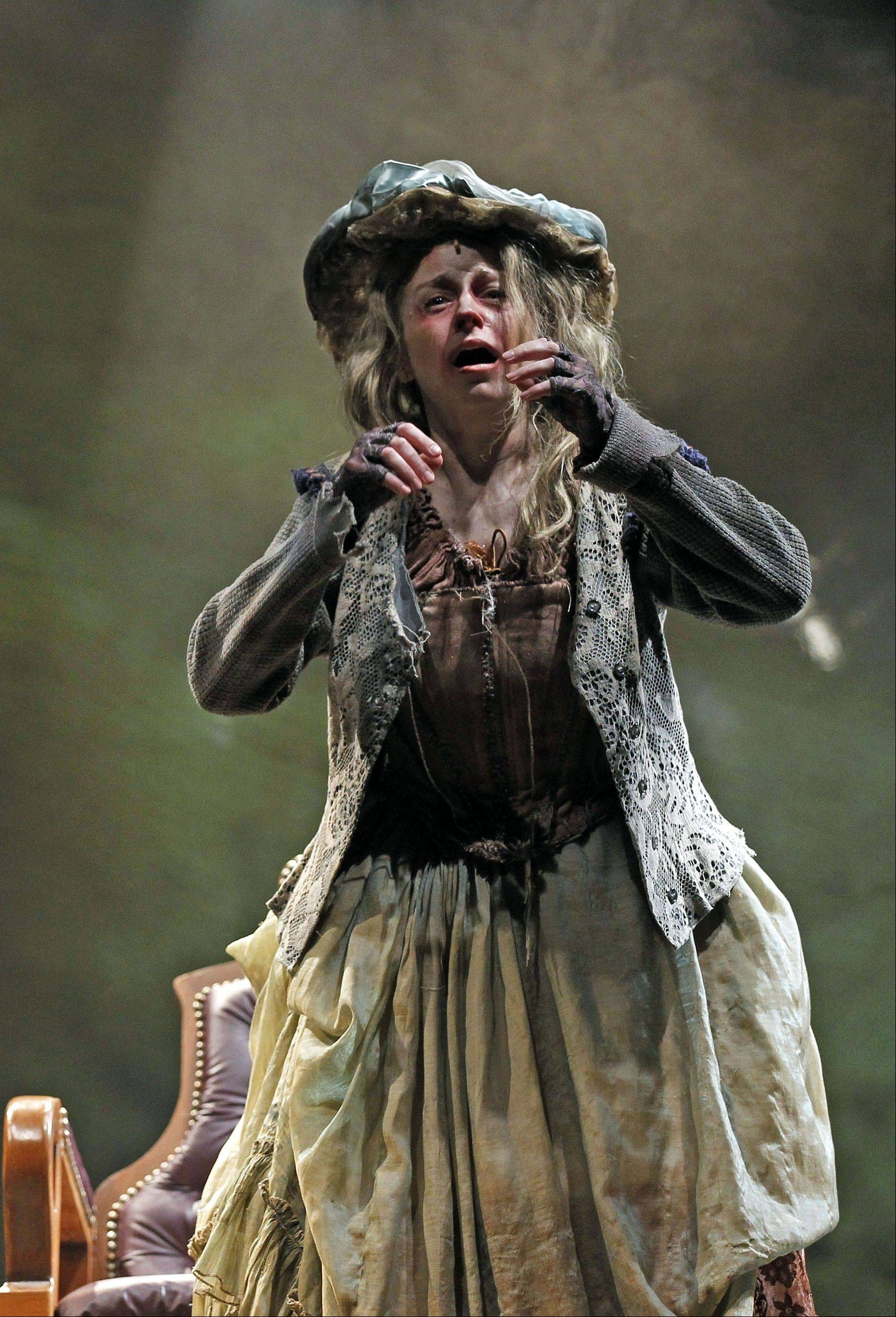 "Heidi Kettenring plays The Beggar Woman, the one person who perceives Sweeney's ""mischief"" and succumbs to his wrath, in Rachel Rockwell and Roberta Duchak's galvanizing revival of ""Sweeney Todd"" for Drury Lane Theatre Oak Brook."