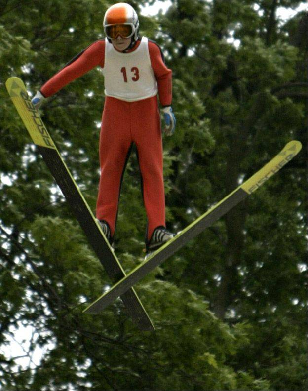 Brian Wallace, of St. Paul, Minn., jumps in a junior tournament in 2006 at Norge ski jump in Fox River Grove.