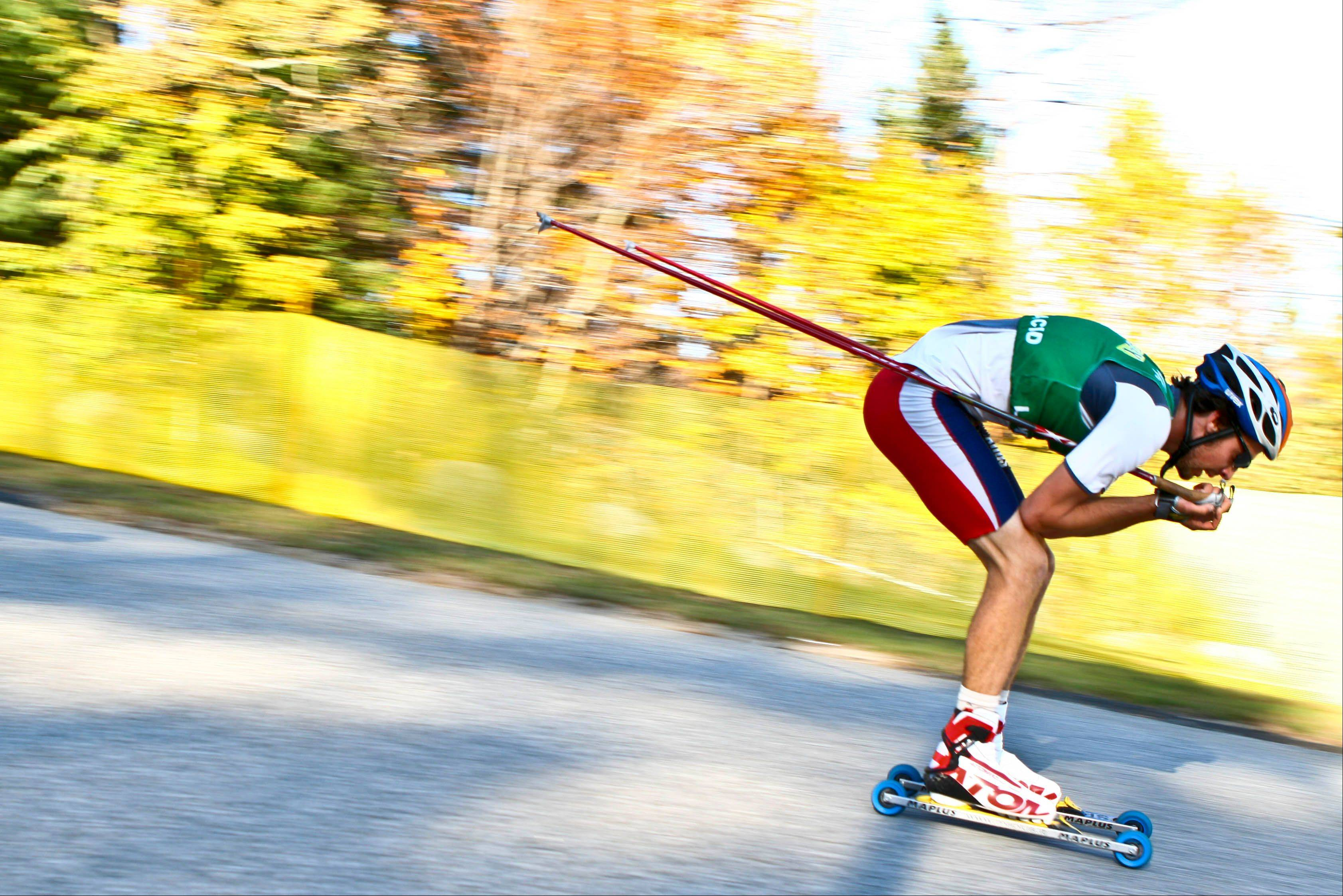 U.S. Nordic combined skier Johnny Spillane, an Olympic silver medalist, races on roller skis.