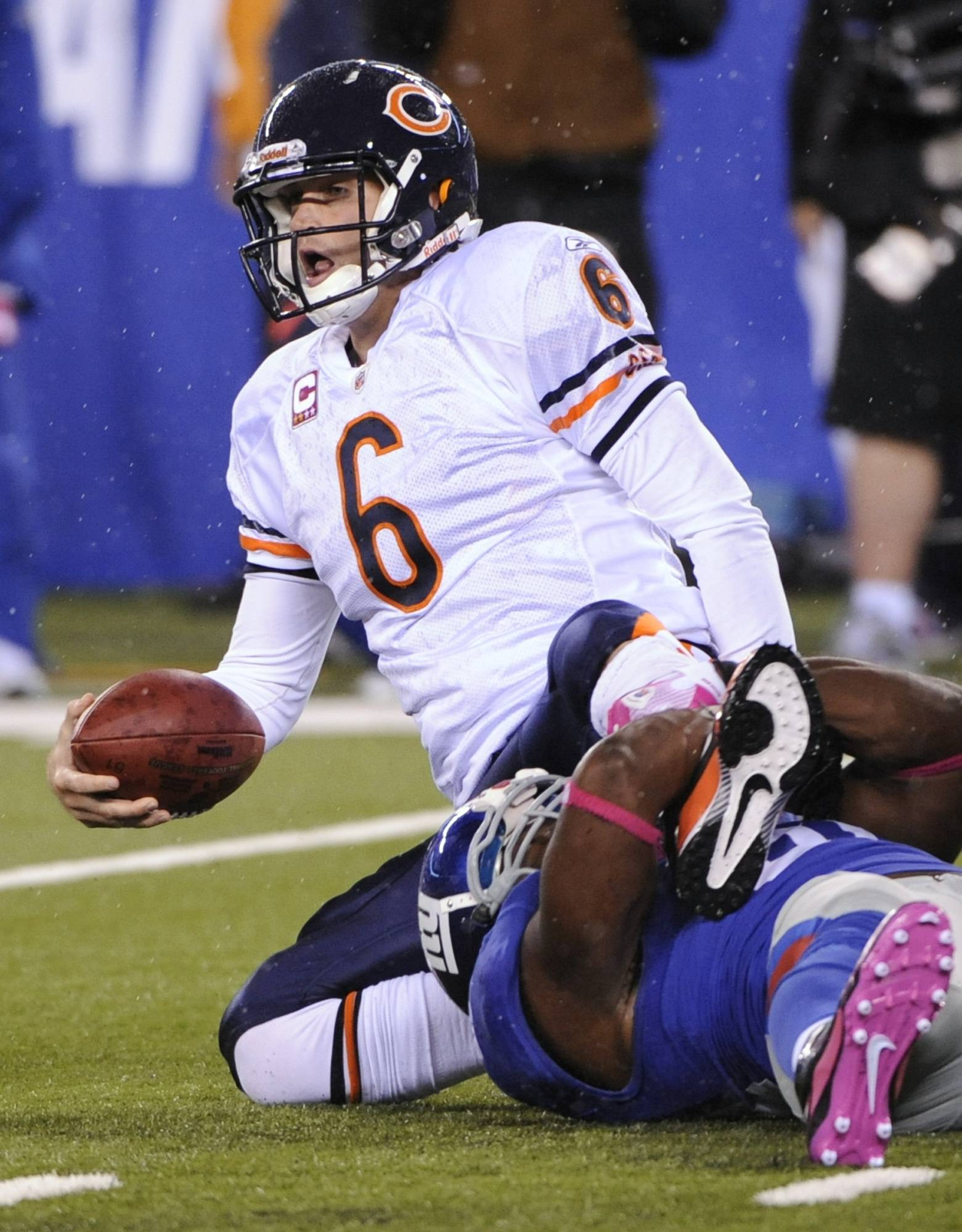 The last time the Bears played the Giants, the the Giants' ferocious pass rush sacked quarterback Jay Cutler 9 times.