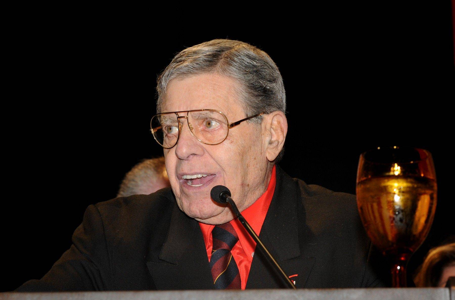 In this photo provided by the Las Vegas News Bureau, Jerry Lewis accepts the Nevada Broadcasters Association (NBA) Lifetime Achievement Award, in Las Vegas Saturday Aug. 20, 2011. Lewis said Saturday that he made his reputation in show business by saving lives.
