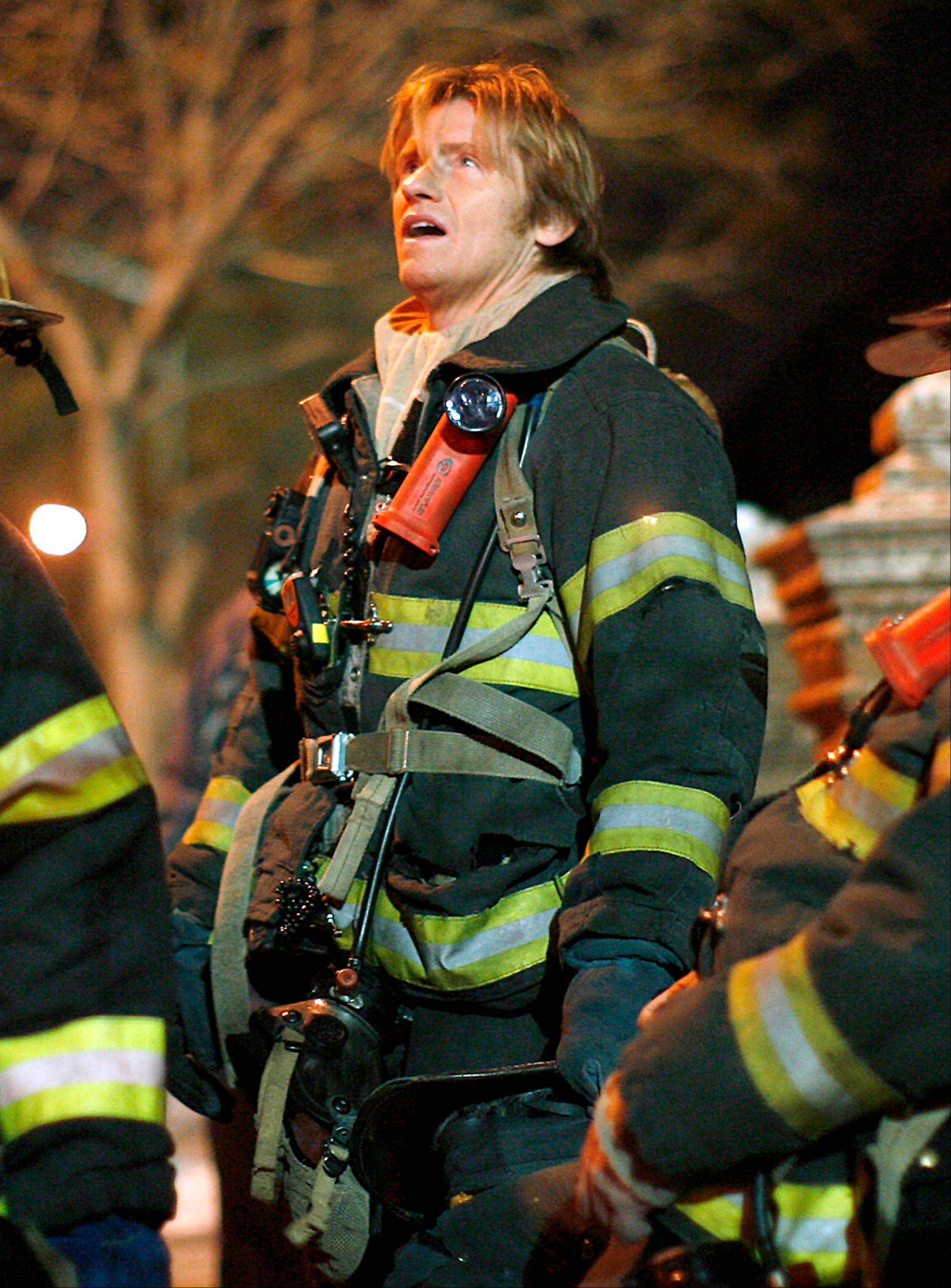 "Actor Denis Leary, who portrays Tommy Gavin, is shown on location during filming for the television show ""Rescue Me"" in New York. The most enduring and penetrating look at life post-9/11 on television has been FX's ""Rescue Me."" Leary's character is haunted by survivor's guilt, which is enhanced by his deceased firefighter cousin's occasional ""visits"" as an apparition."