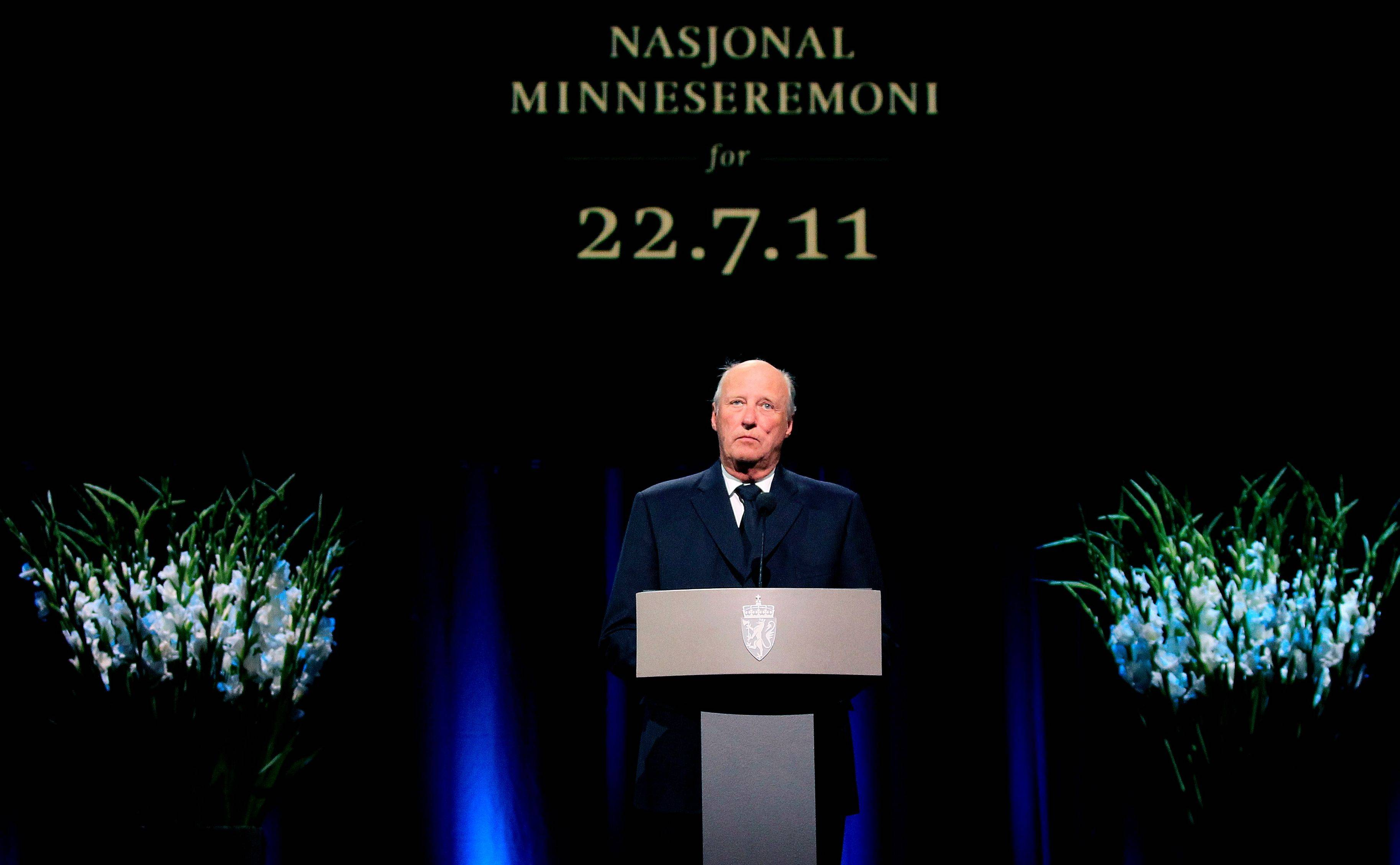Norway�s King Harald speaks Sunday during the national memorial ceremony in Oslo in remembrance of the victims of the two July 22 attacks that killed 77 people in Oslo and on Utoya island.
