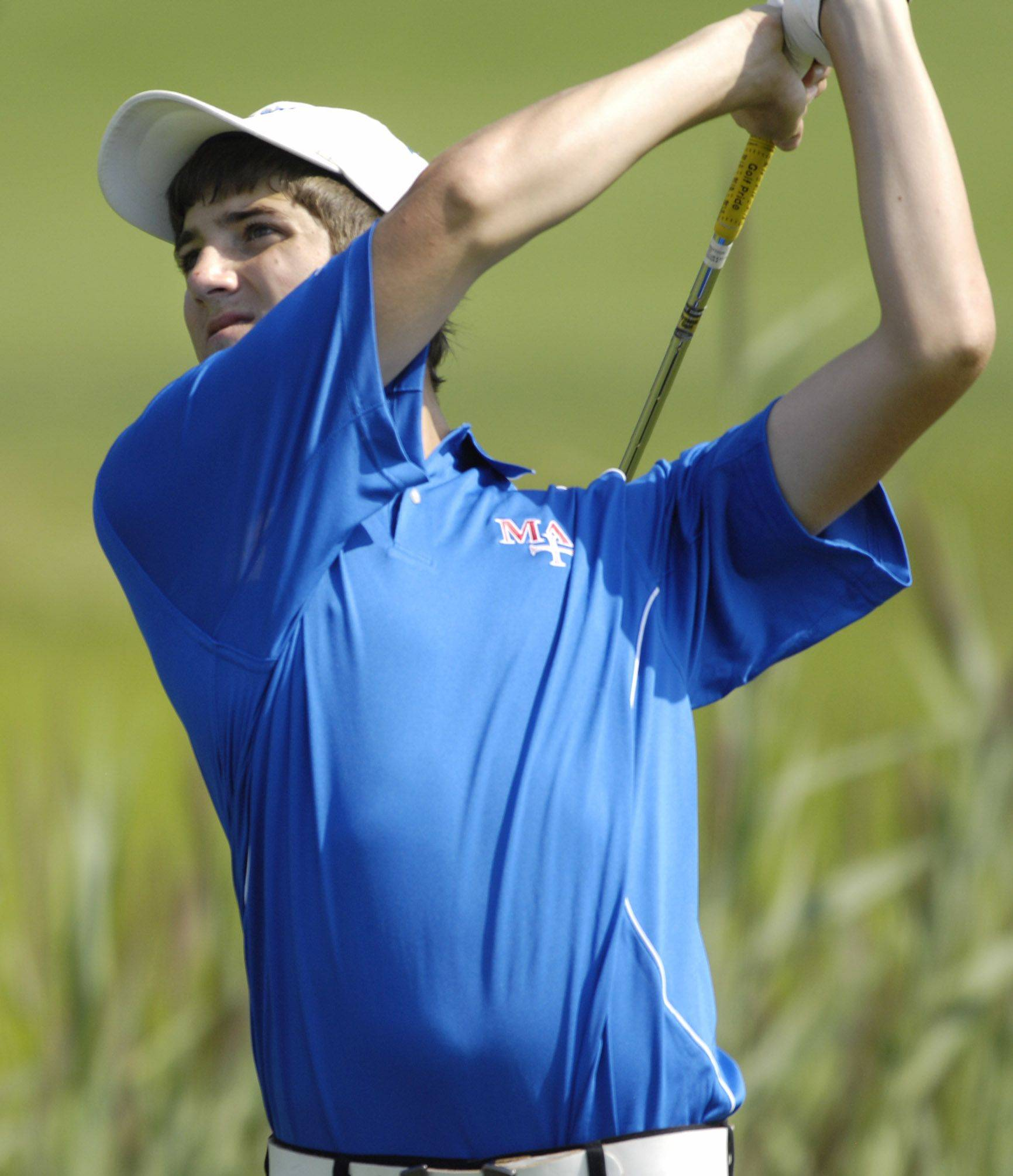Marmion Academy�s Zach Wytych during the Larkin Boys golf invitational at the Highlands Golf Club in Elgin Wednesday.