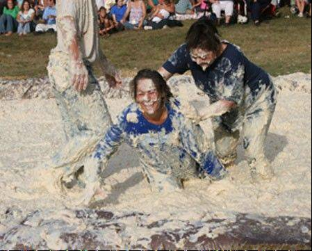 There's no gravy required for mashed potato wrestling at Potato Days in Barnesville, Minn.