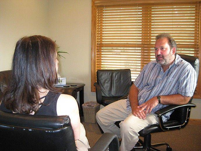 Jim Brydon, LCSW, therapist and co-owner, meets a client at Arbor Counseling Center's Buffalo Grove office.