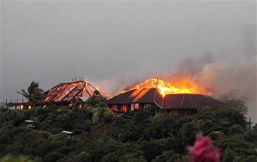 A fire rips through the luxury home of British entrepreneur Sir Richard Branson on Necker Island in the Caribbean. Among the house guests were Academy Award-winning actress Kate Winslet who escaped uninjured .