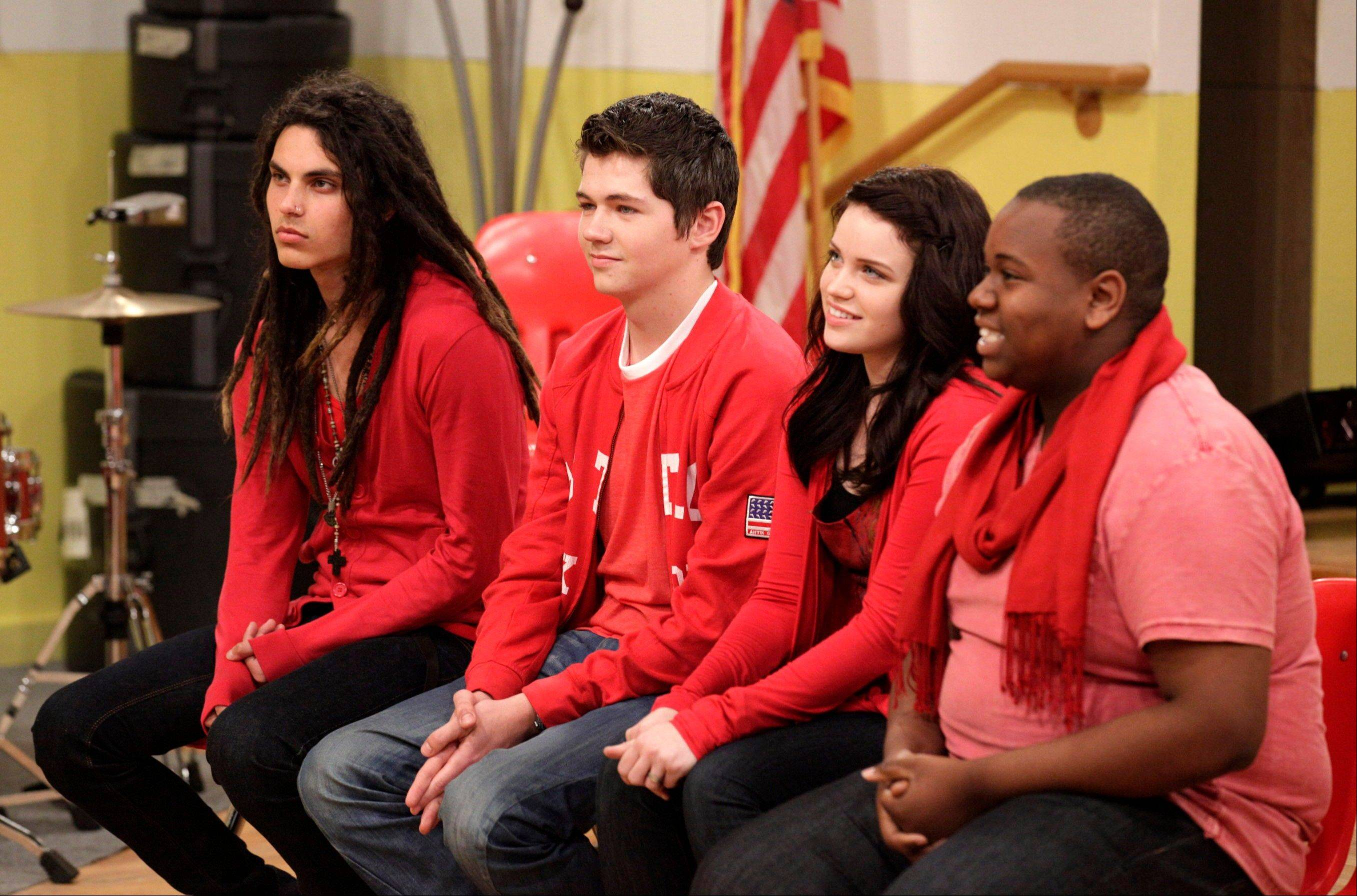 "Samuel Larsen, left, 19, and Damian McGinty, 18, beat out Lindsay Pearce, 20, and Alex Newell, 18, during Sunday's finale for Oxygen's reality competition, ""The Glee Project."" The winners will appear in a 7-episode arc on the third season of ""Glee."""