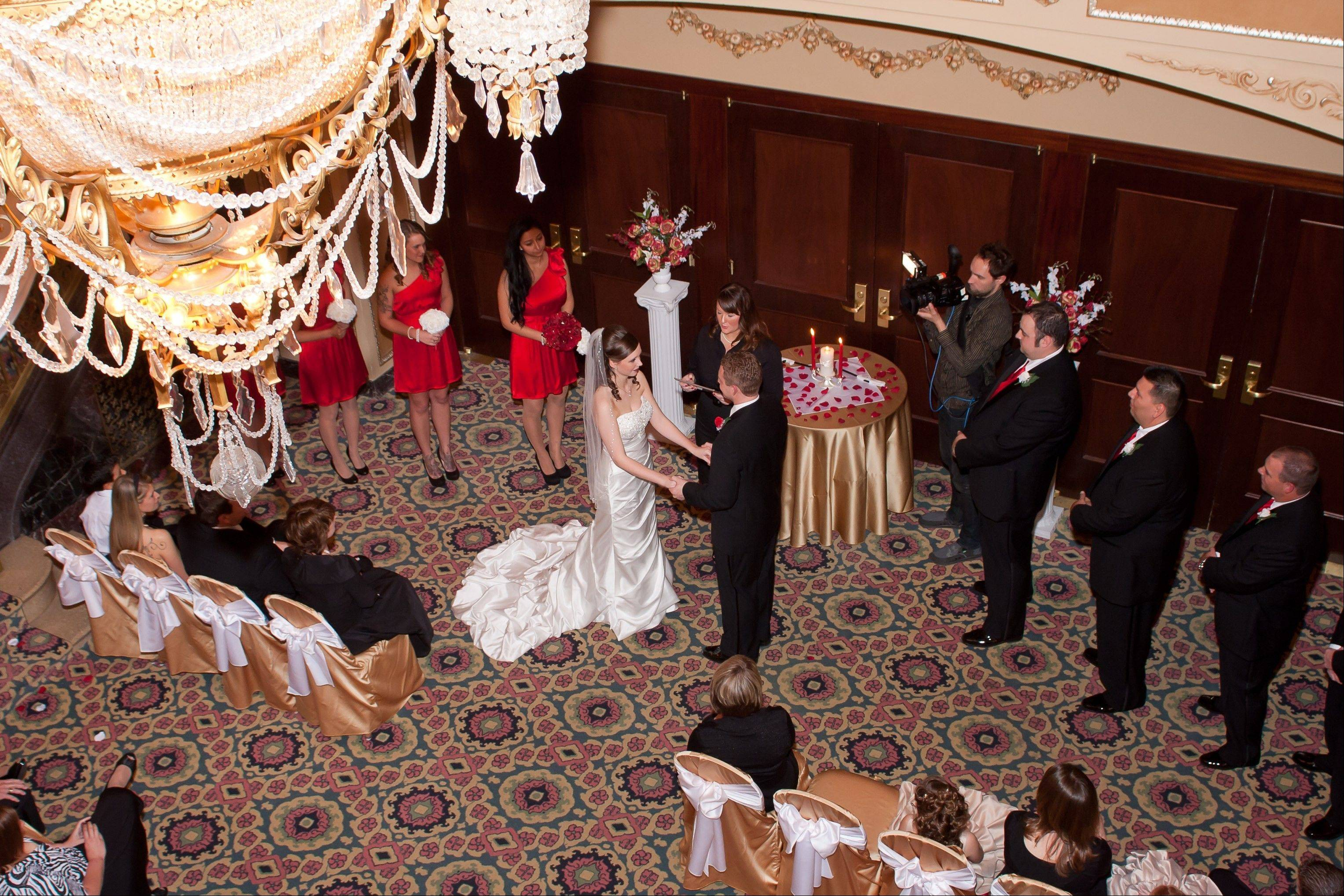 James and Kathryn say�I do� in the historic Genesee Theatre in Waukegan.