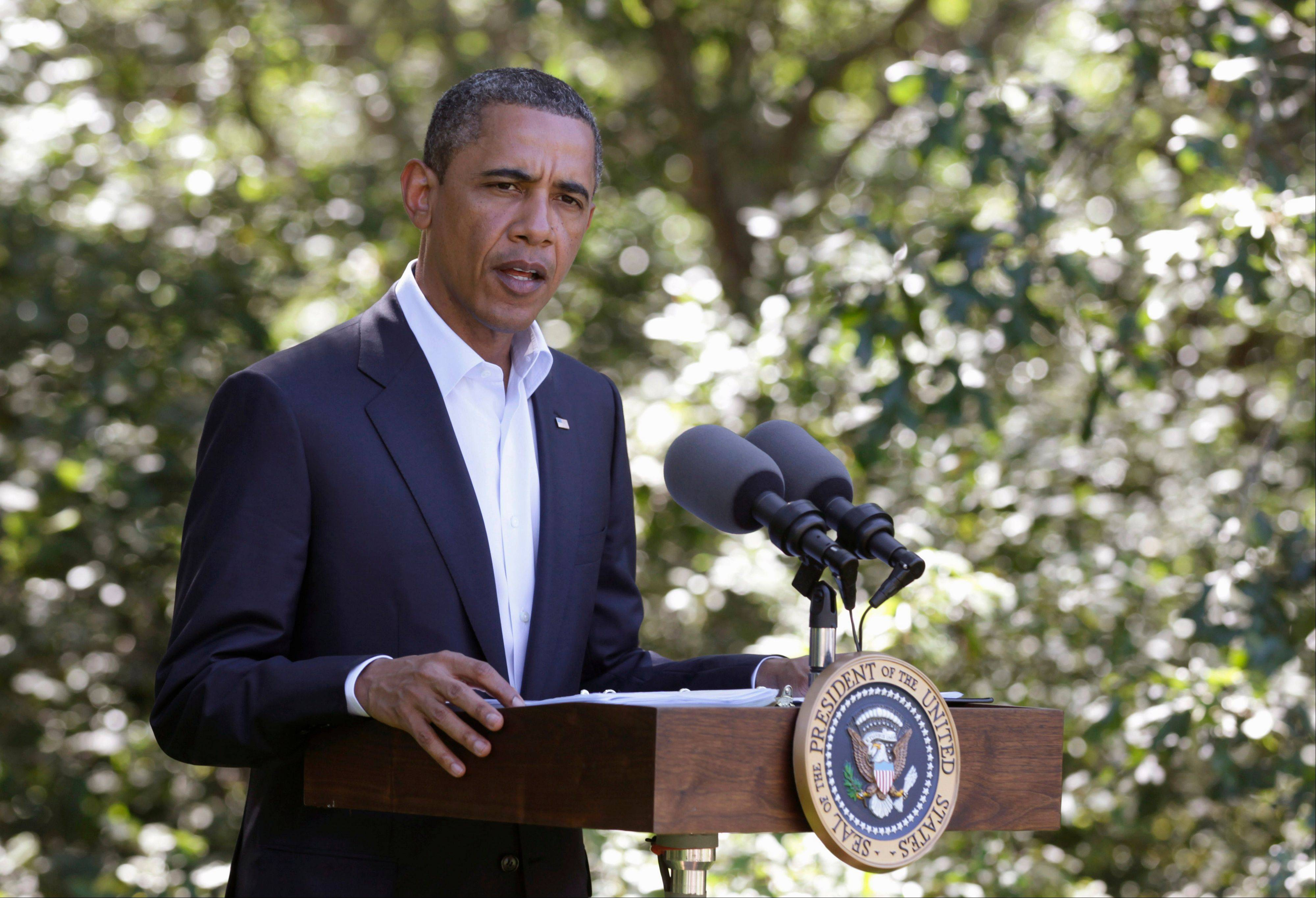 President Barack Obama speaks about Libya on Monday in Martha's Vineyard, Mass.