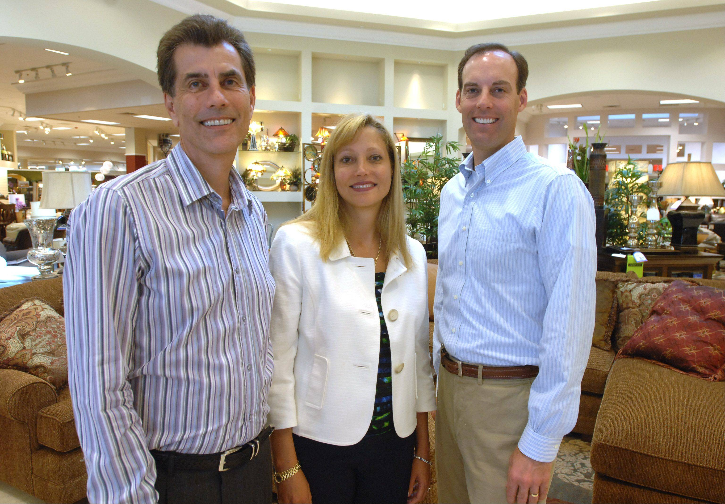Wisconsin-based Steinhafels, a third-generation family-owned furniture retailer, is opening its first Illinois store in Vernon Hills. From left are company officials Gary Steinhafel, Ellen Steinhafel-Lappe and Mark Steinhafel.