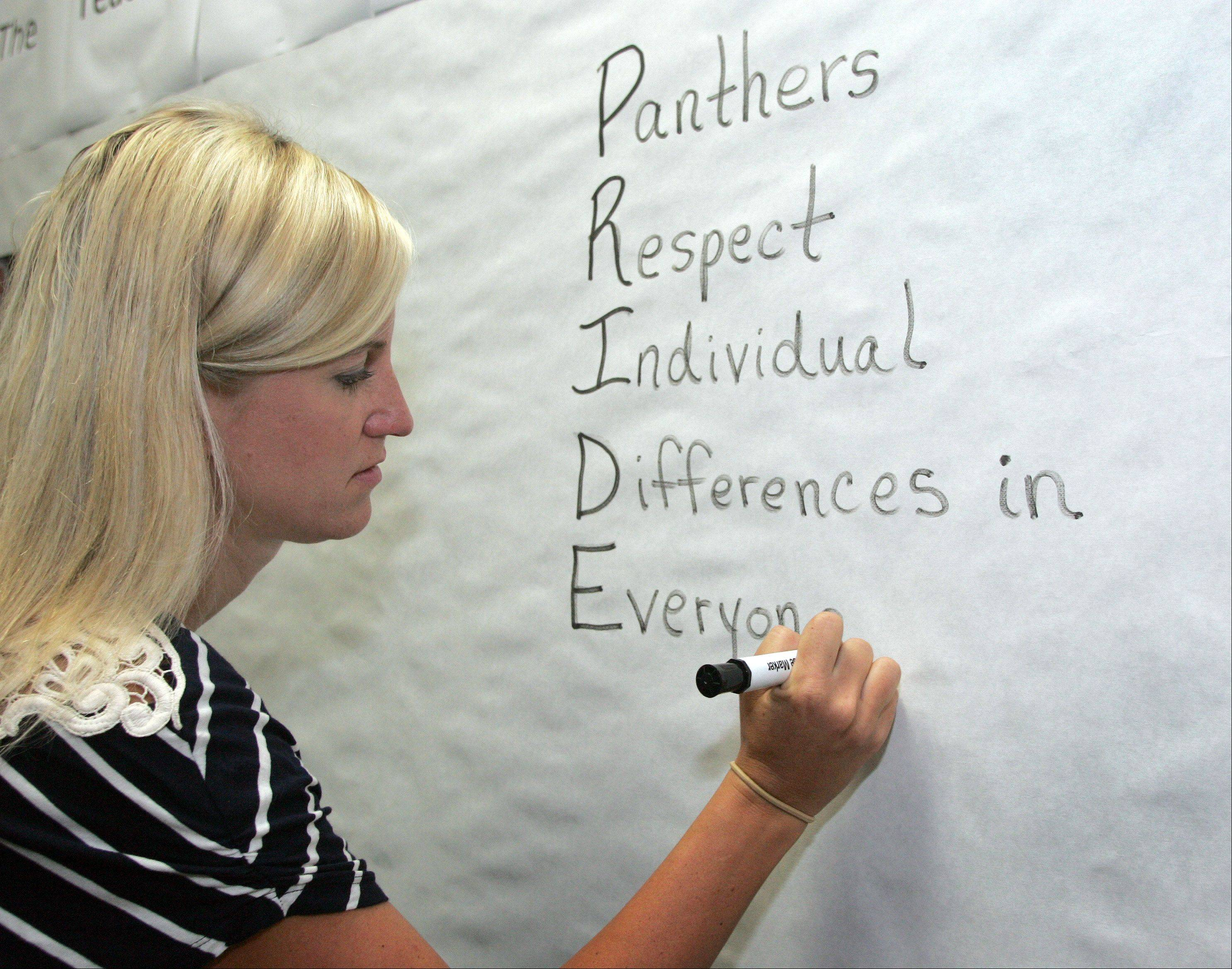 Allison Harvey writes out the theme for the school year on a teacher board as she prepares for the return of her sixth-grade class at Crone Middle School in Naperville.