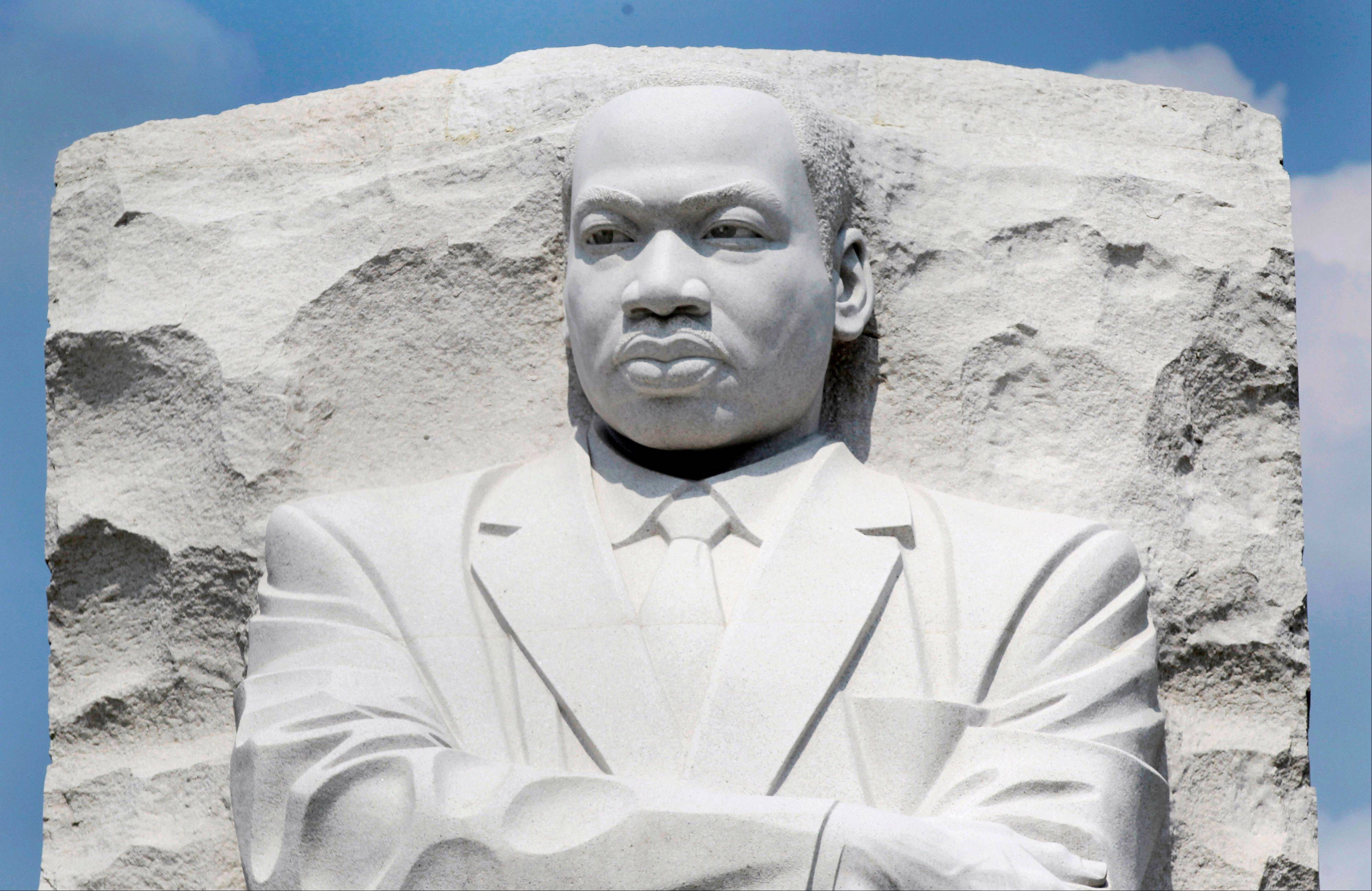 A part of the Rev. Martin Luther King Jr. Memorial is seen on the National Mall in Washington.
