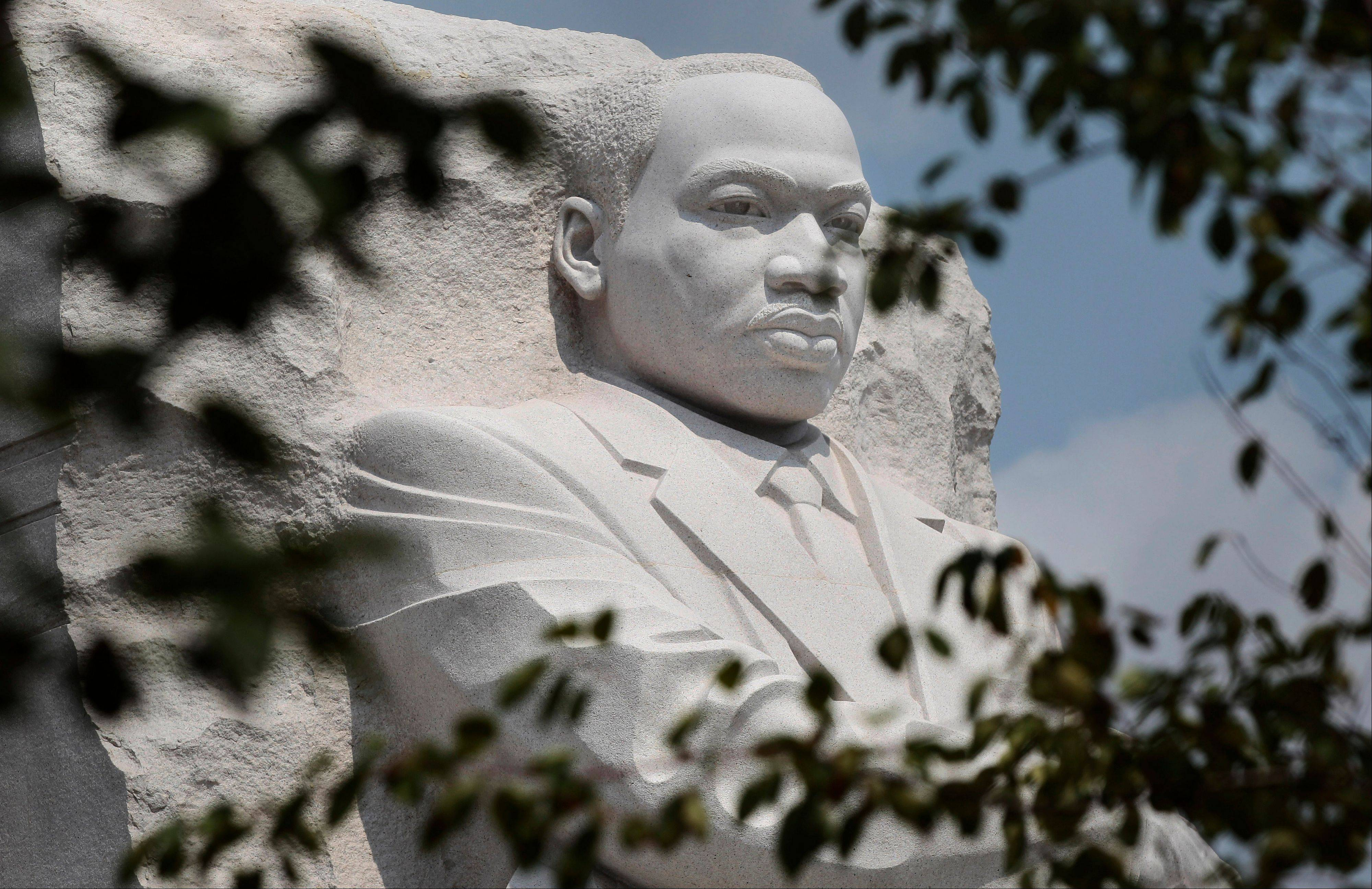 A detail of the memorial to the Rev. Martin Luther King Jr. is seen on the National Mall in Washington.