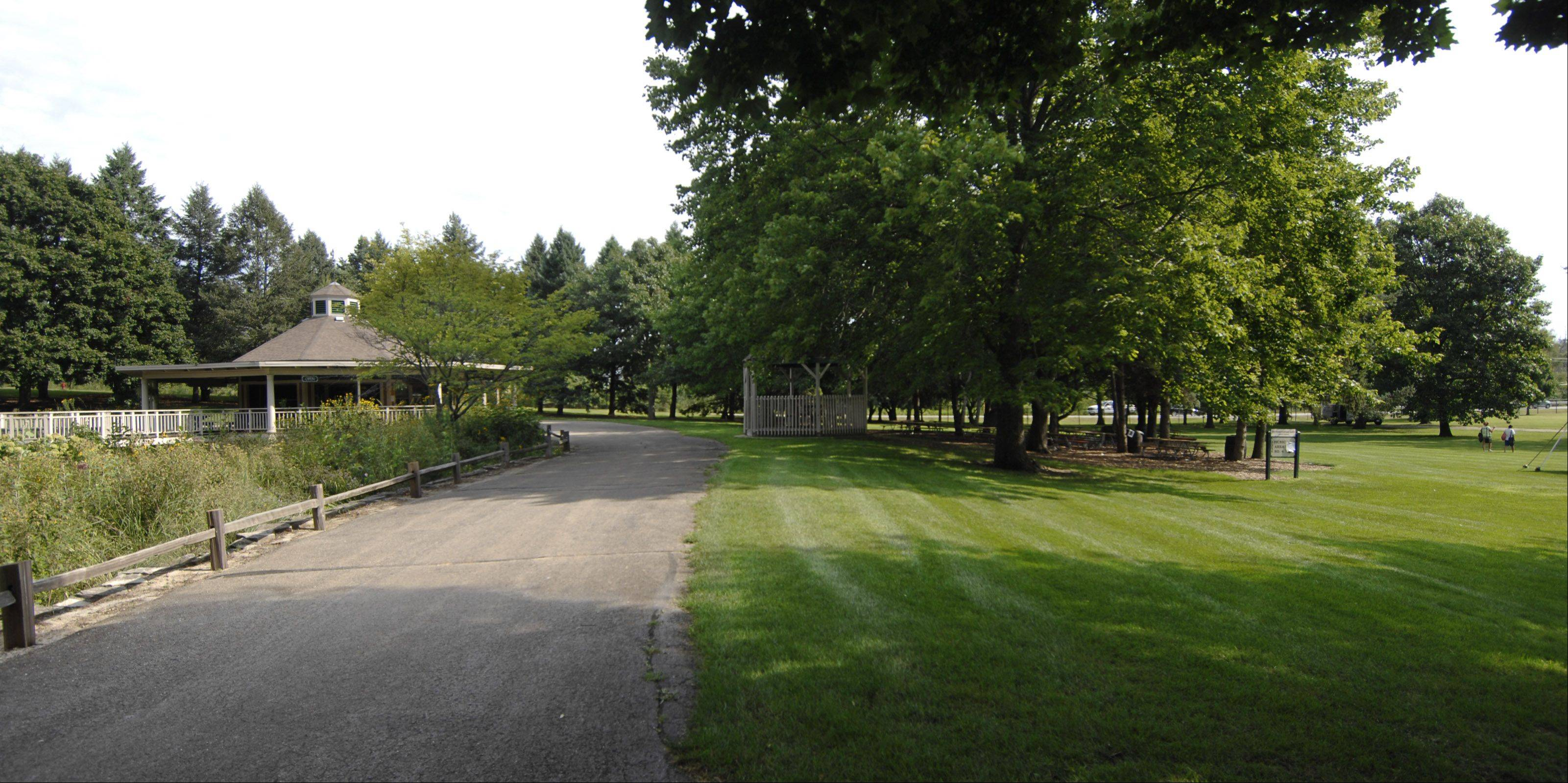 A 2,500-square-foot performance shelter and restrooms will be added to this grassy area between two picnic spots at Blackberry Farm in Aurora as part of the first phase of improvements at the farm. Fox Valley Park District trustees approved a $1.5 million contract for the renovations Aug. 8.