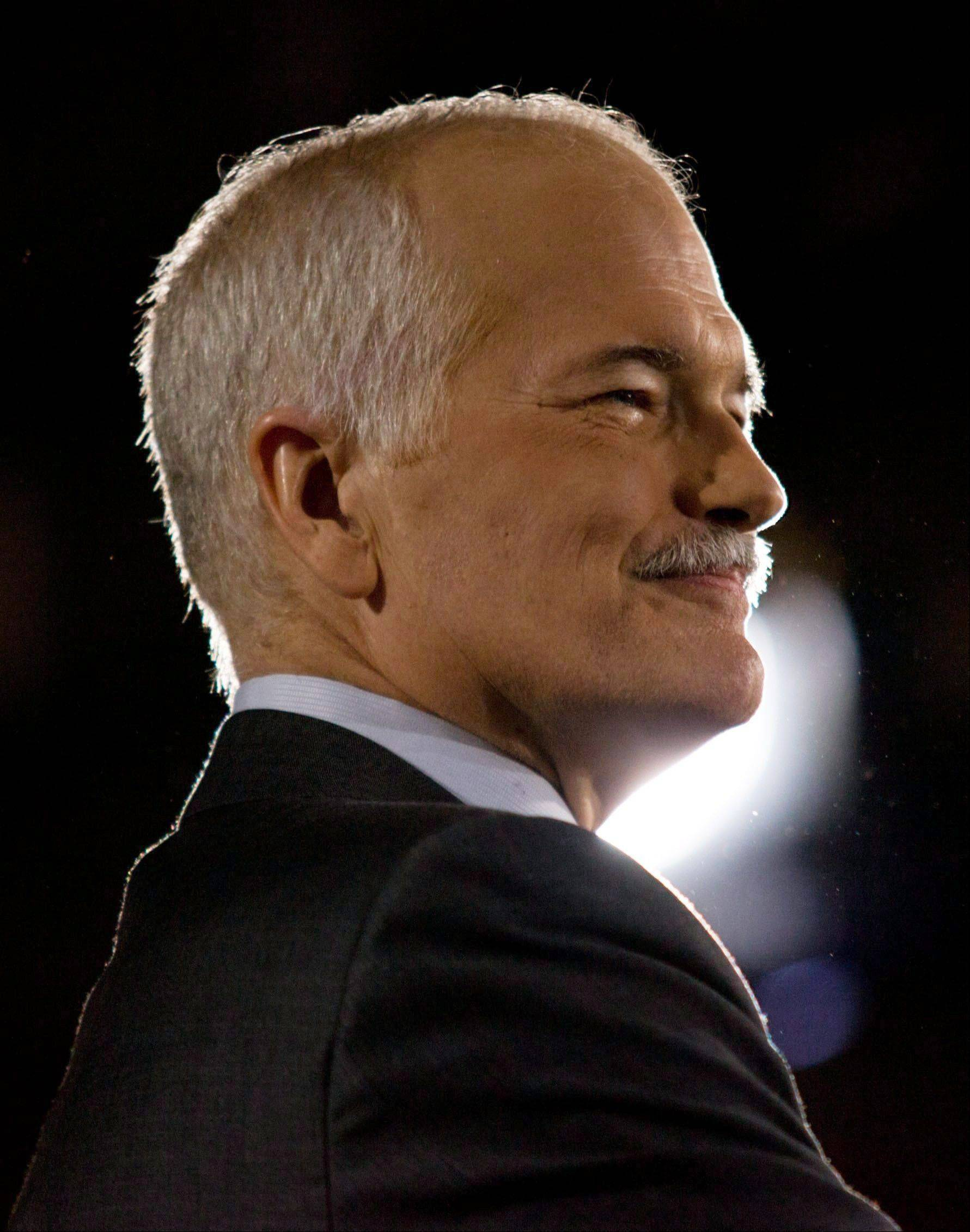 In this May 2, 2011 photo, NDP Leader Jack Layton speaks to supporters at the NDP headquarters in Toronto. Layton died Monday, Aug. 22, 2011, after a battle with cancer.