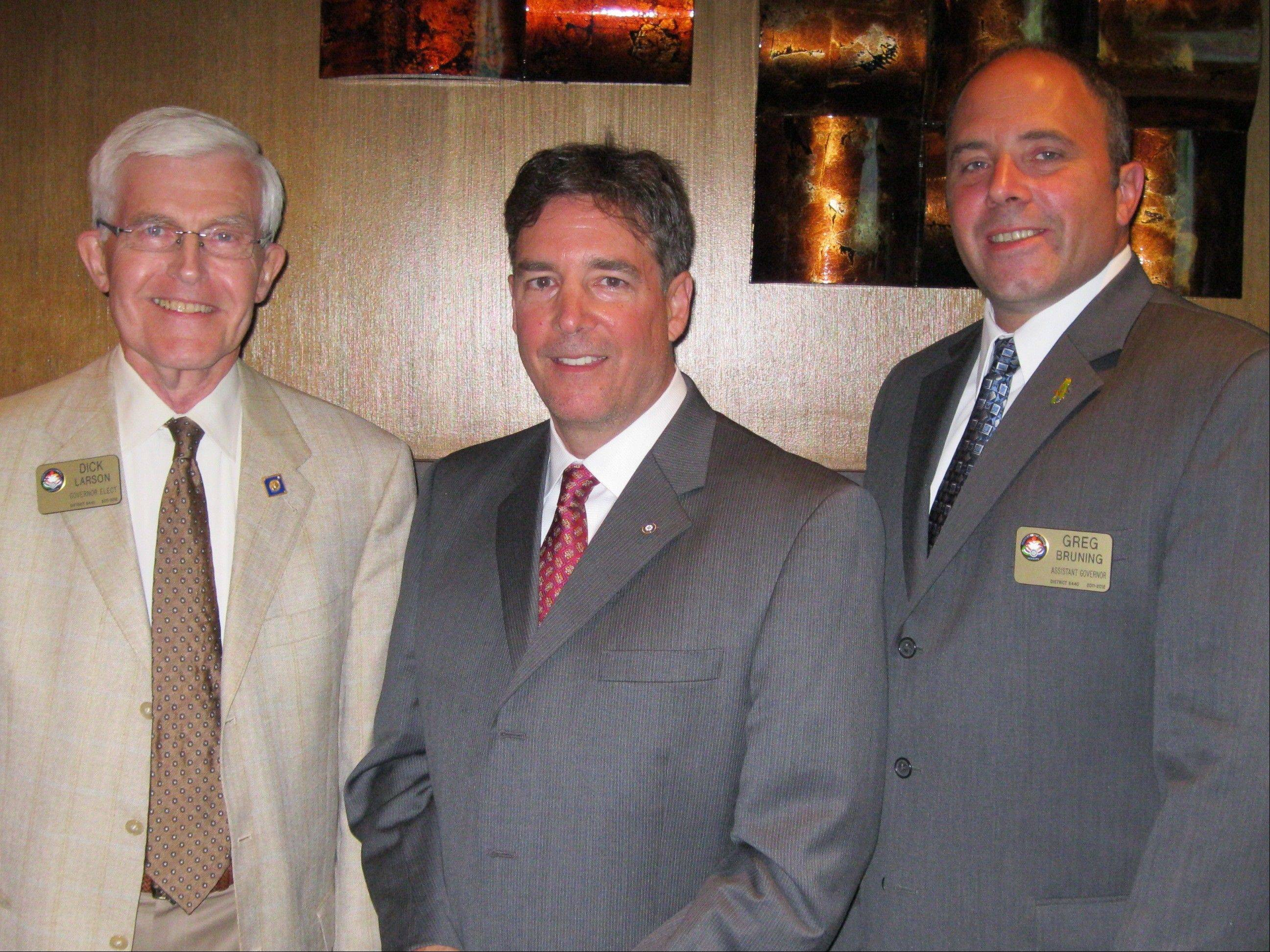 Pictured at the Rotary Club of Schaumburg A.M. Installation & Awards Dinner, from left, are: District 6440 Governor Elect Dick Larson, Schaumburg A.M. Rotary President Jim McKenzie and Assistant Governor Greg Bruning.