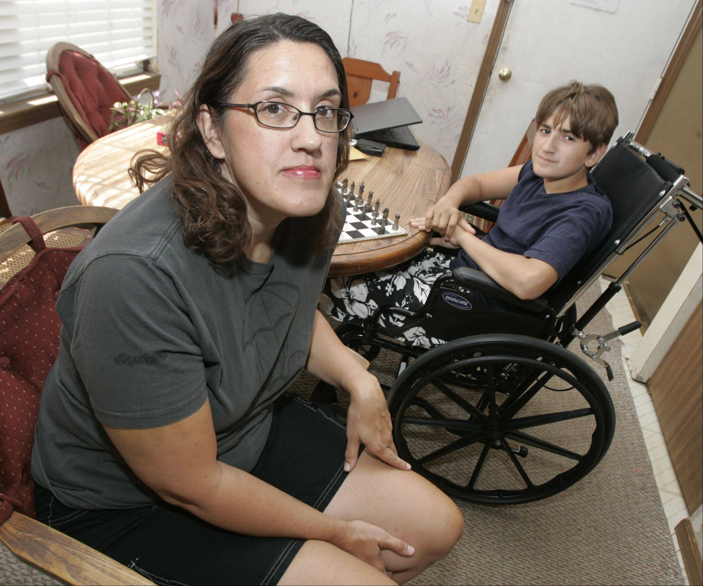 Karen Brunn and her 12-year-old son, Josh, say they feel lucky, despite the broken bones and other injuries they suffered when a stage collapsed on them Aug. 13 at the Indiana State Fair.
