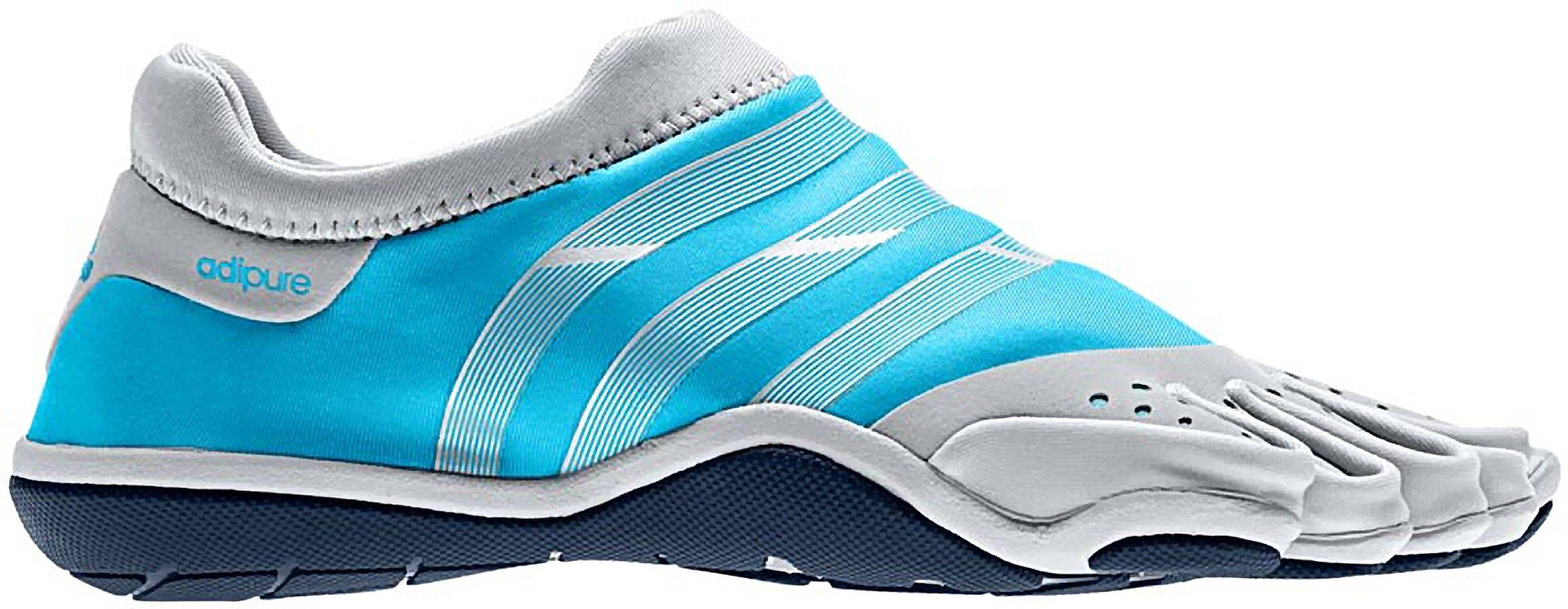 Associated Press In this product Image provided by Adidas, the Adipure Trainer W, in intense blue and metallic silver, is shown. Adidas is trying to tap into the growing niche U.S. market of people who want to run in shoes that mimic the experience of running barefoot, but offer the protection, traction and durability of traditional athletic shoes.