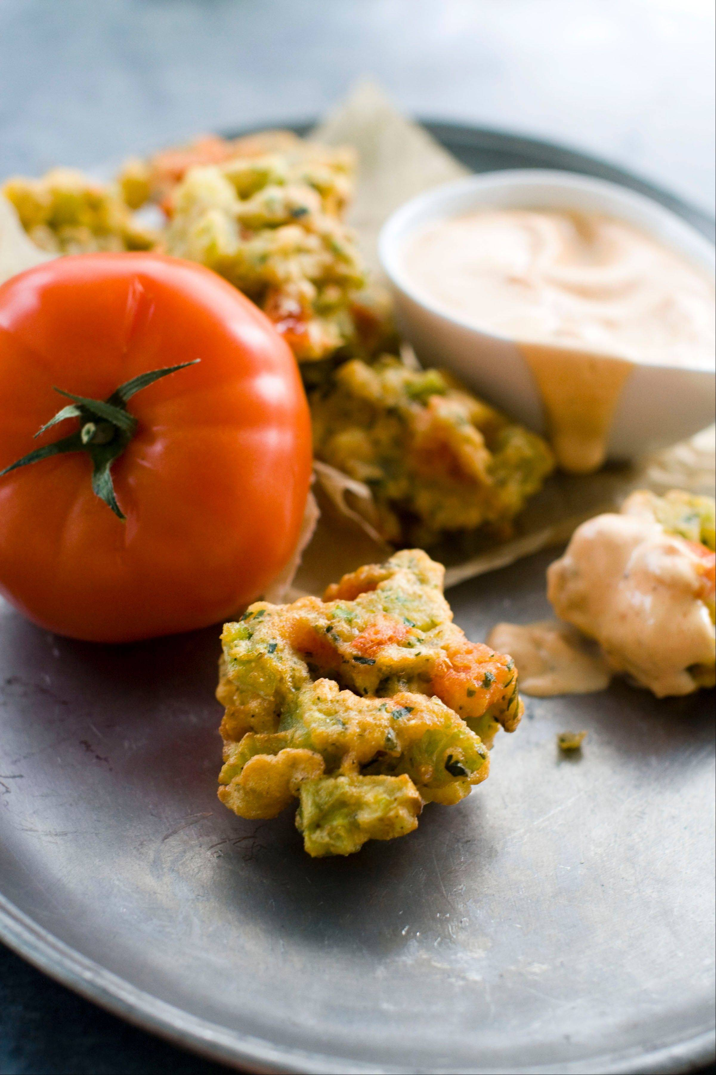 Serve these tomato fritters with prepared mayonnaise.