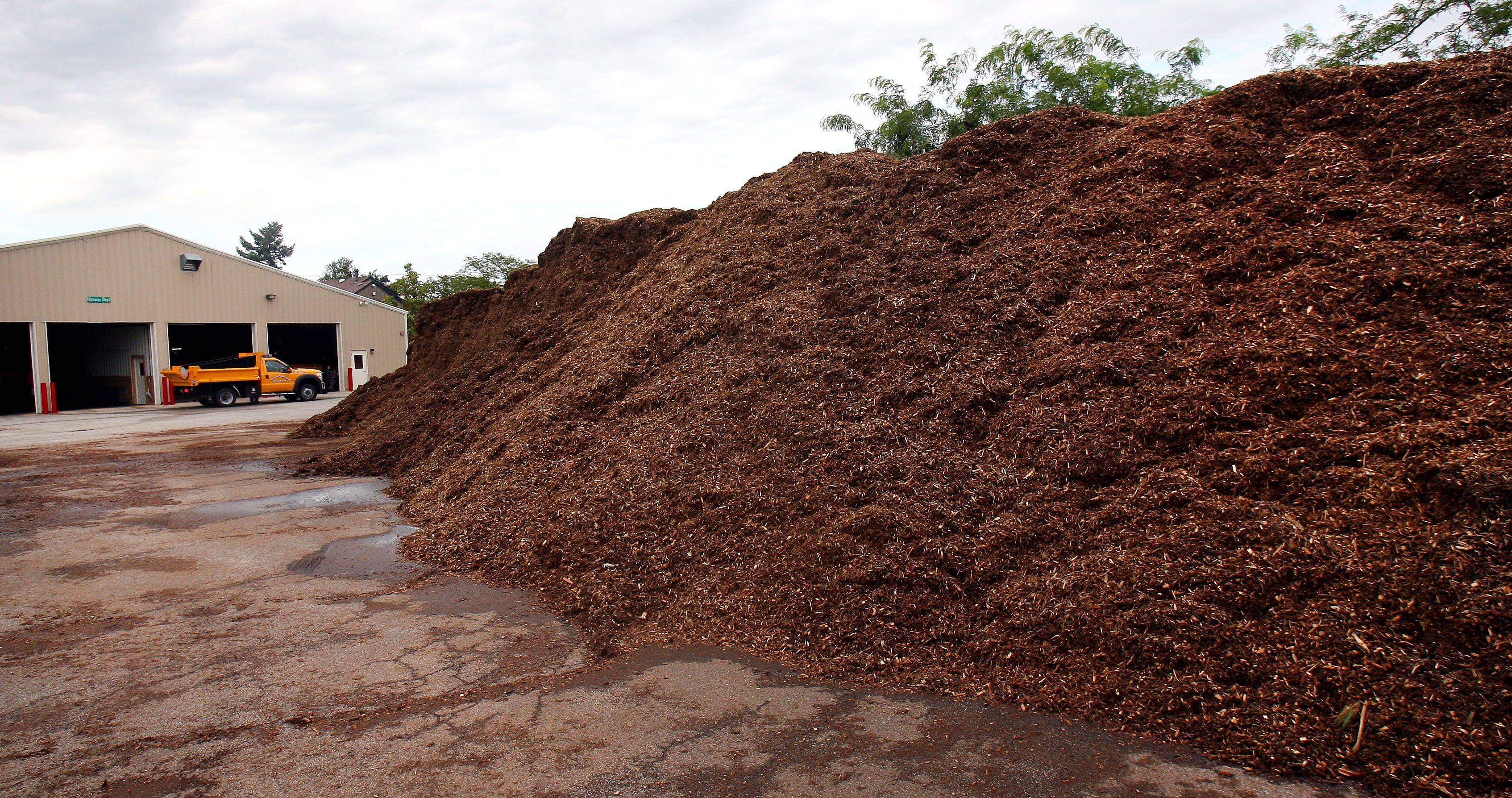 Strong storms that wreaked havoc in Lake County earlier this summer created a bounty of wood chips as evidenced by this giant pile at Warren Township Highway Department in Gurnee.