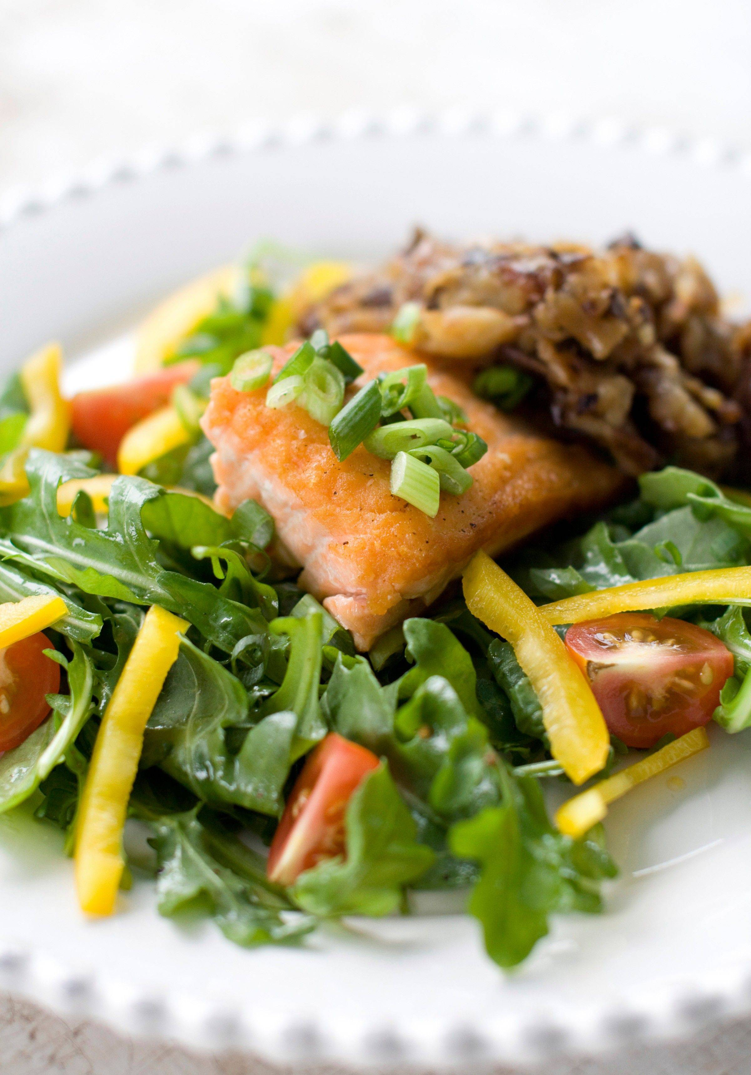 The earthy flavor of shiitake mushrooms mixed with shredded potatoes complements the rich salmon in this recipe.